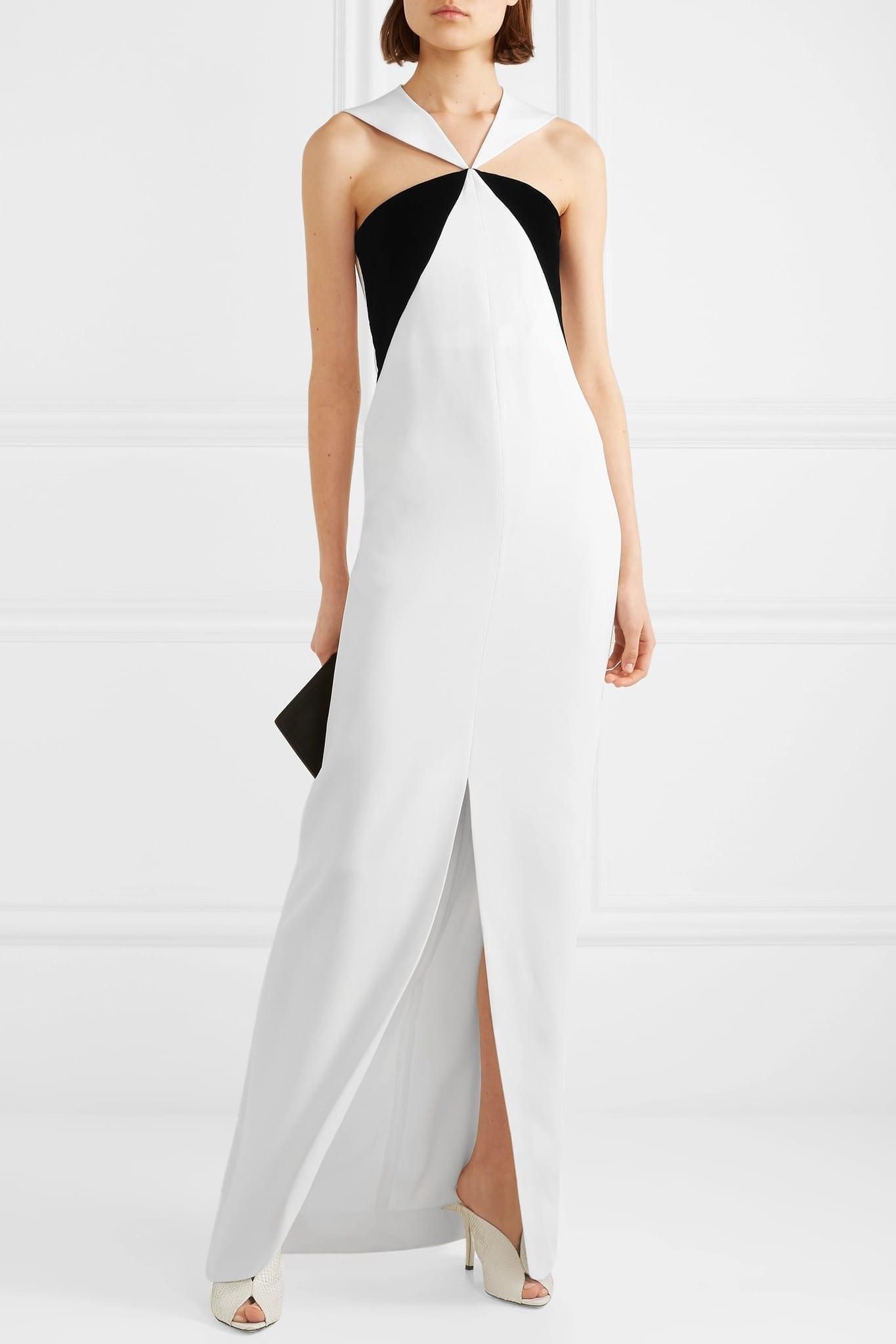 GIVENCHY Velvet-paneled Crepe Halterneck Gown
