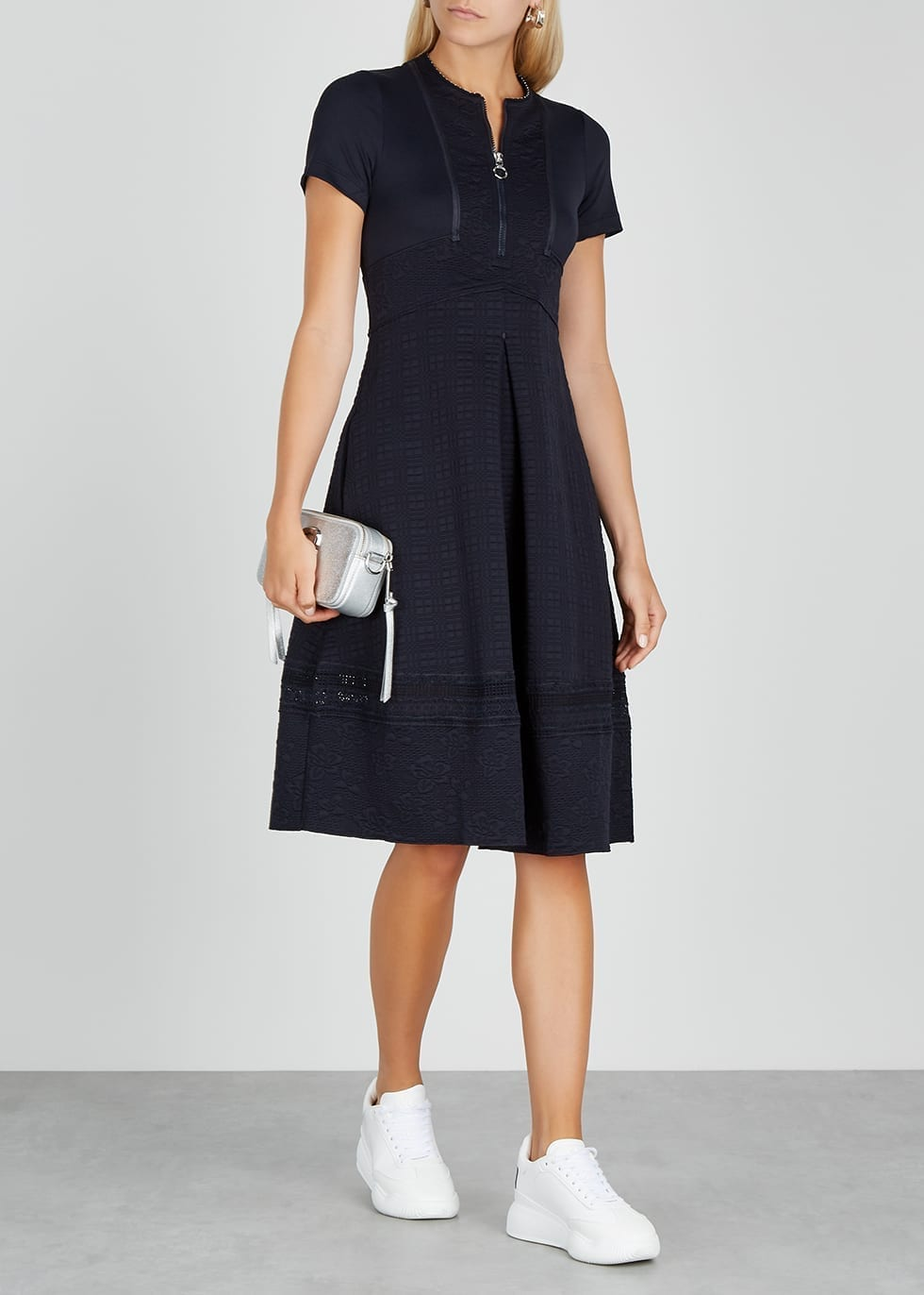 HIGH Adorable Navy Stretch-jersey Midi Dress