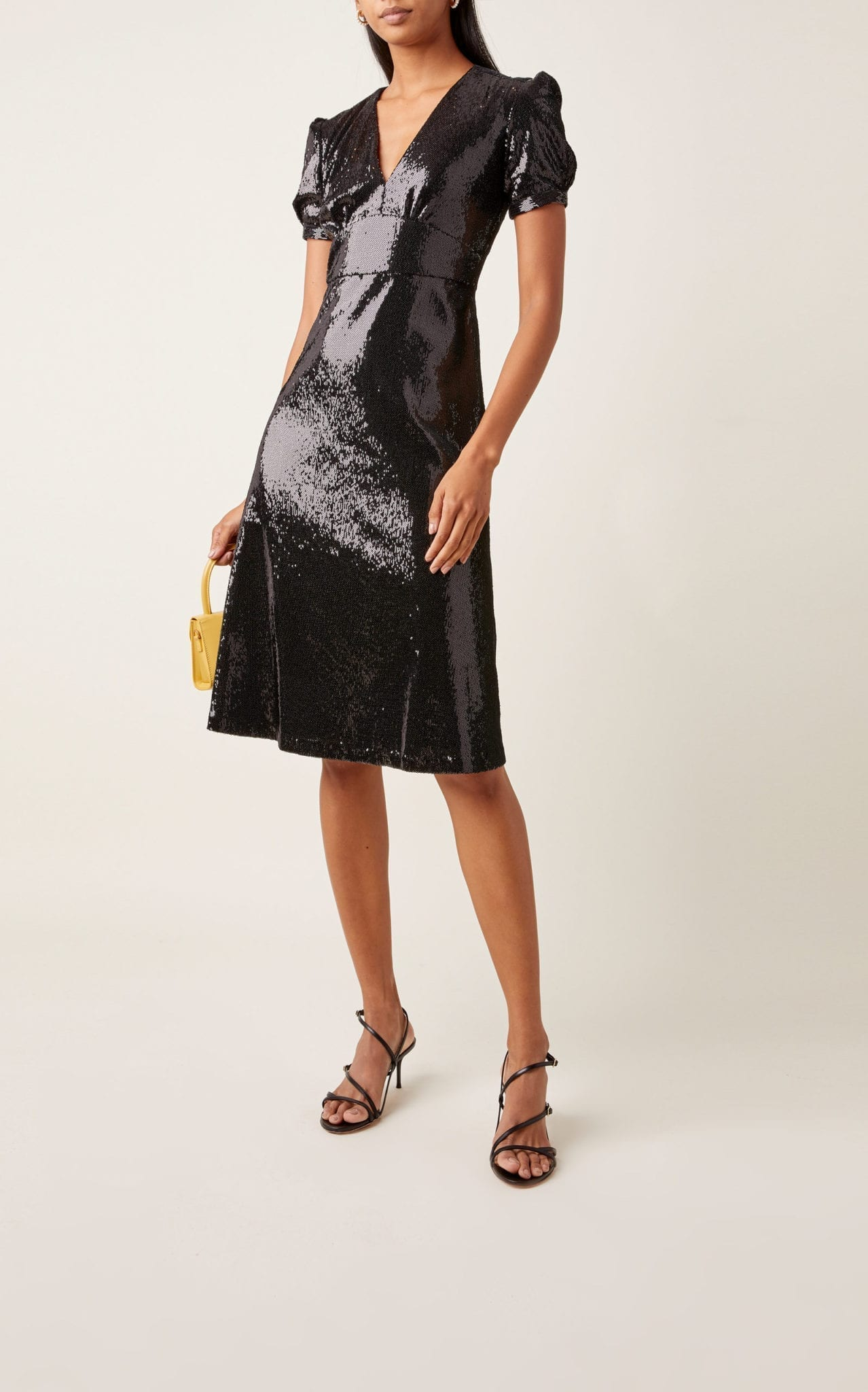 HVN Paula V-neck Sequined Dress