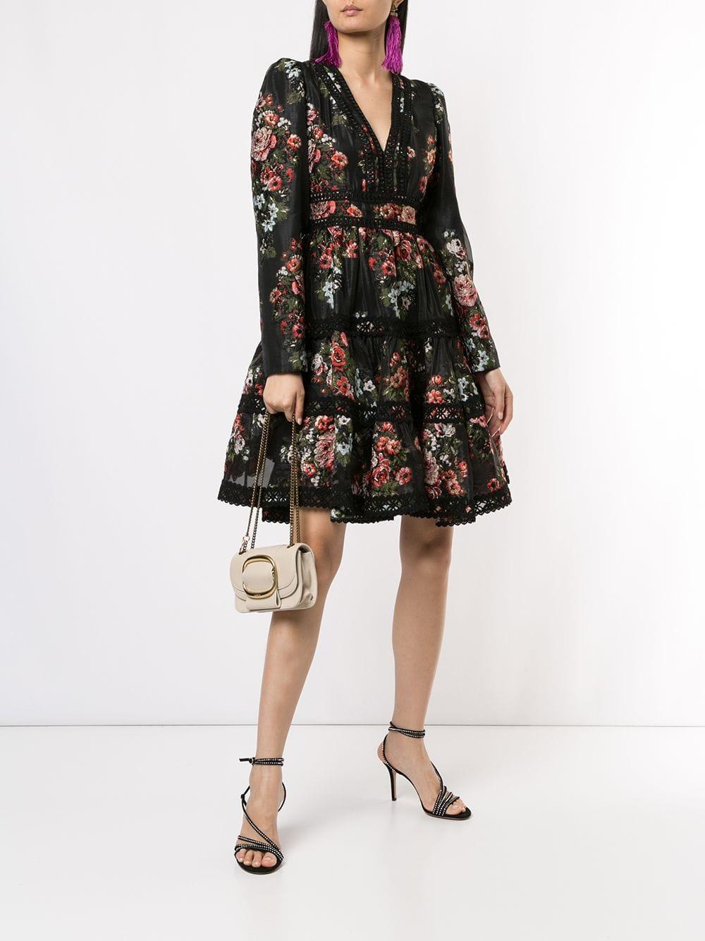 INGIE PARIS V-neck Floral Pattern Dress