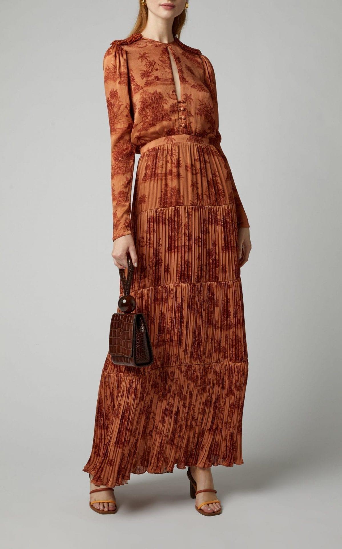JOHANNA ORTIZ In Search Of Serenity Printed Plissé-Satin Maxi Dress