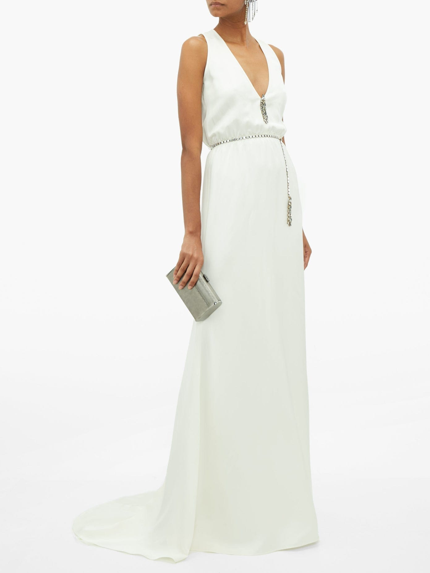 JULIE DE LIBRAN Martine Crystal-belt Silk-charmeuse Gown