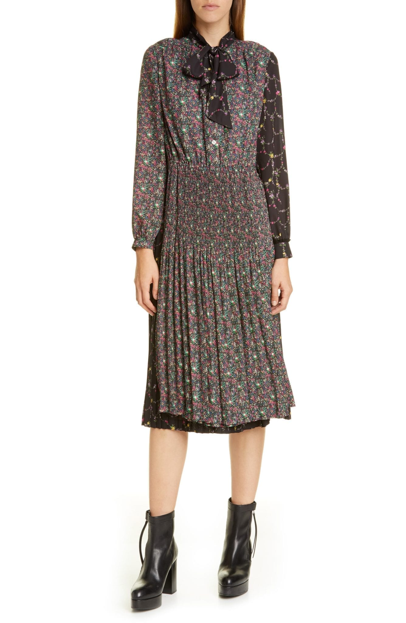 JUNYA WATANABE Mixed Floral Long Sleeve Midi Dress