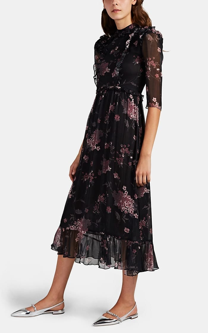 LAURA GARCIA COLLECTION Nicolette Floral Silk Chiffon Dress