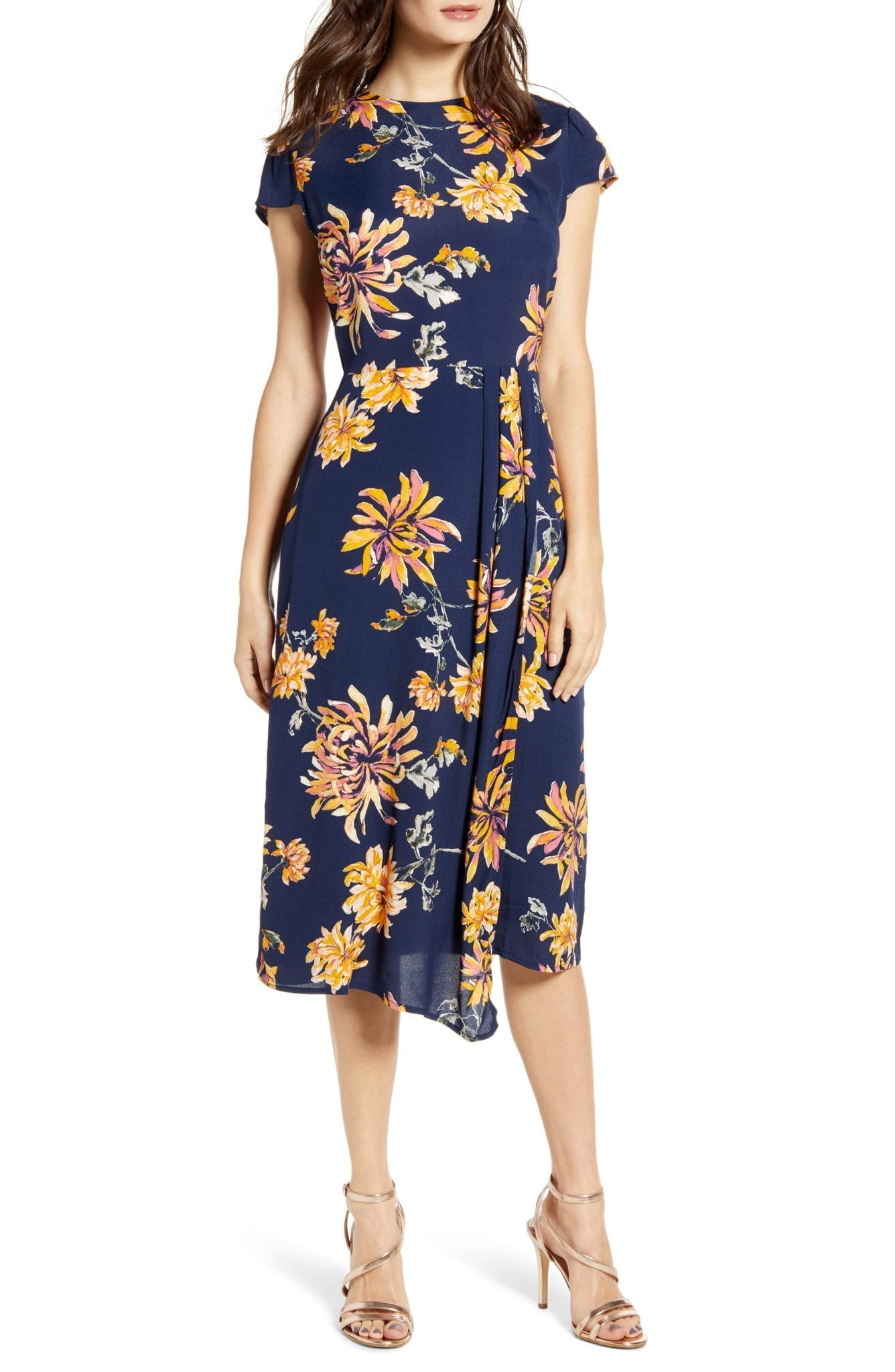 LEITH Cap Sleeve Floral Midi Dress