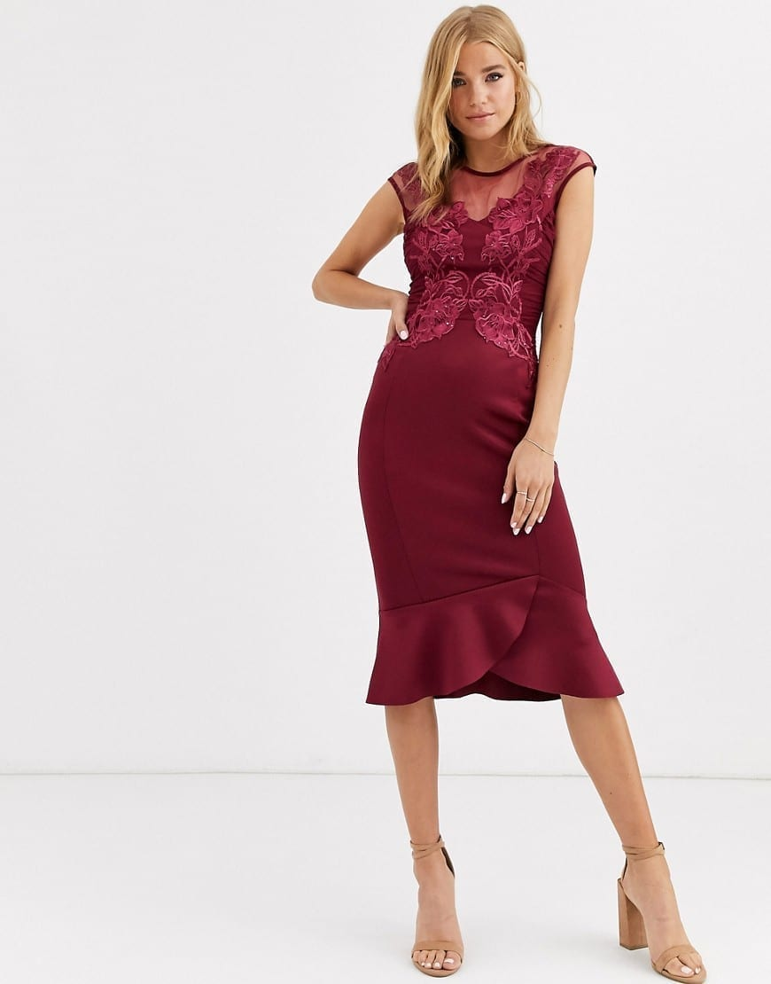 LIPSY Embroidered Bodycon Dress - We