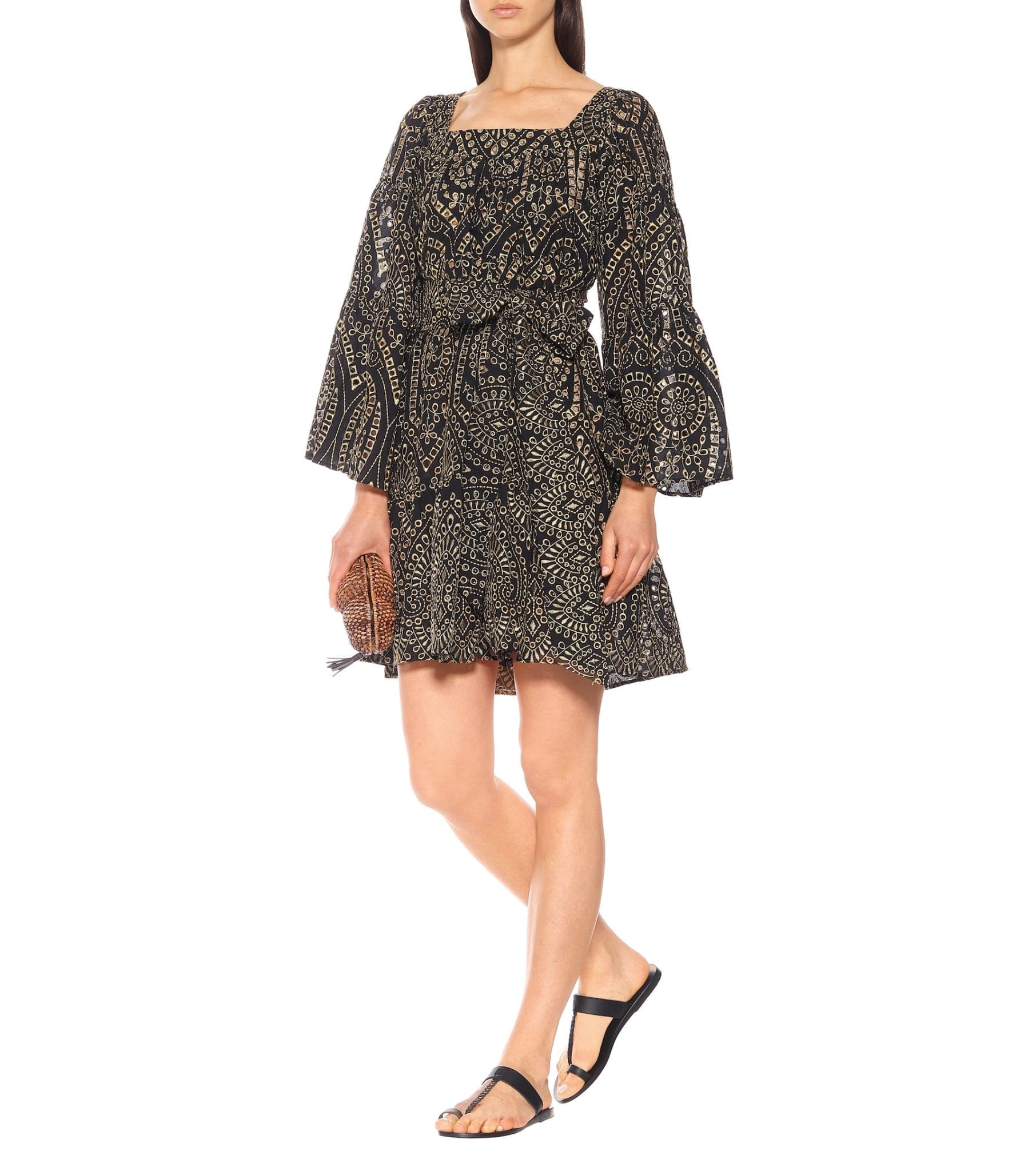 LISA MARIE FERNANDEZ Cotton Eyelet Mini Dress