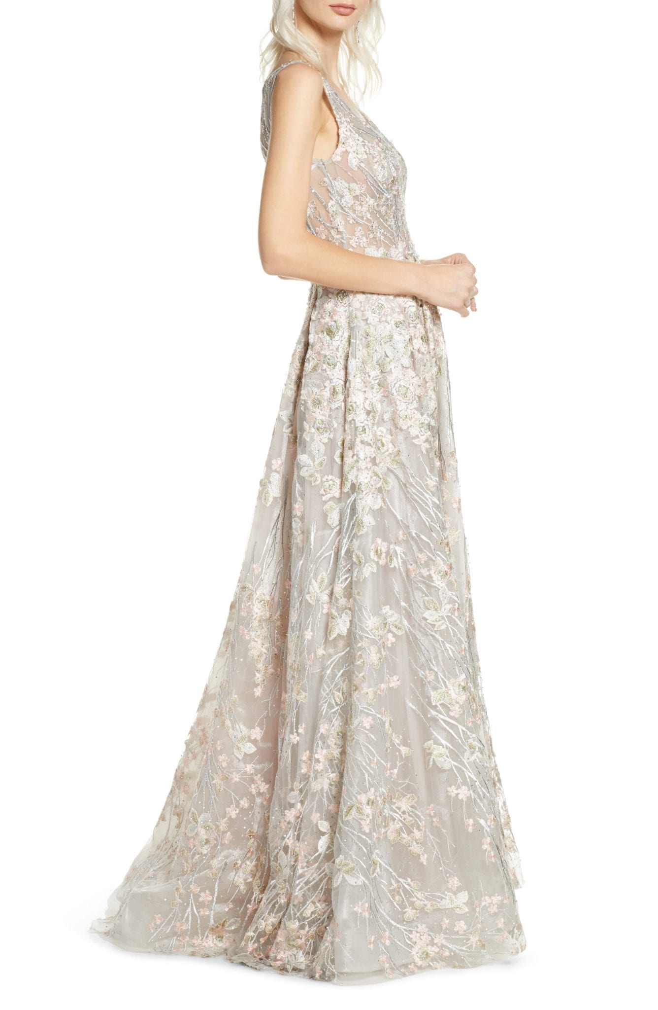 MAC DUGGAL Floral Embroidered V-Neck Gown - We Select Dresses