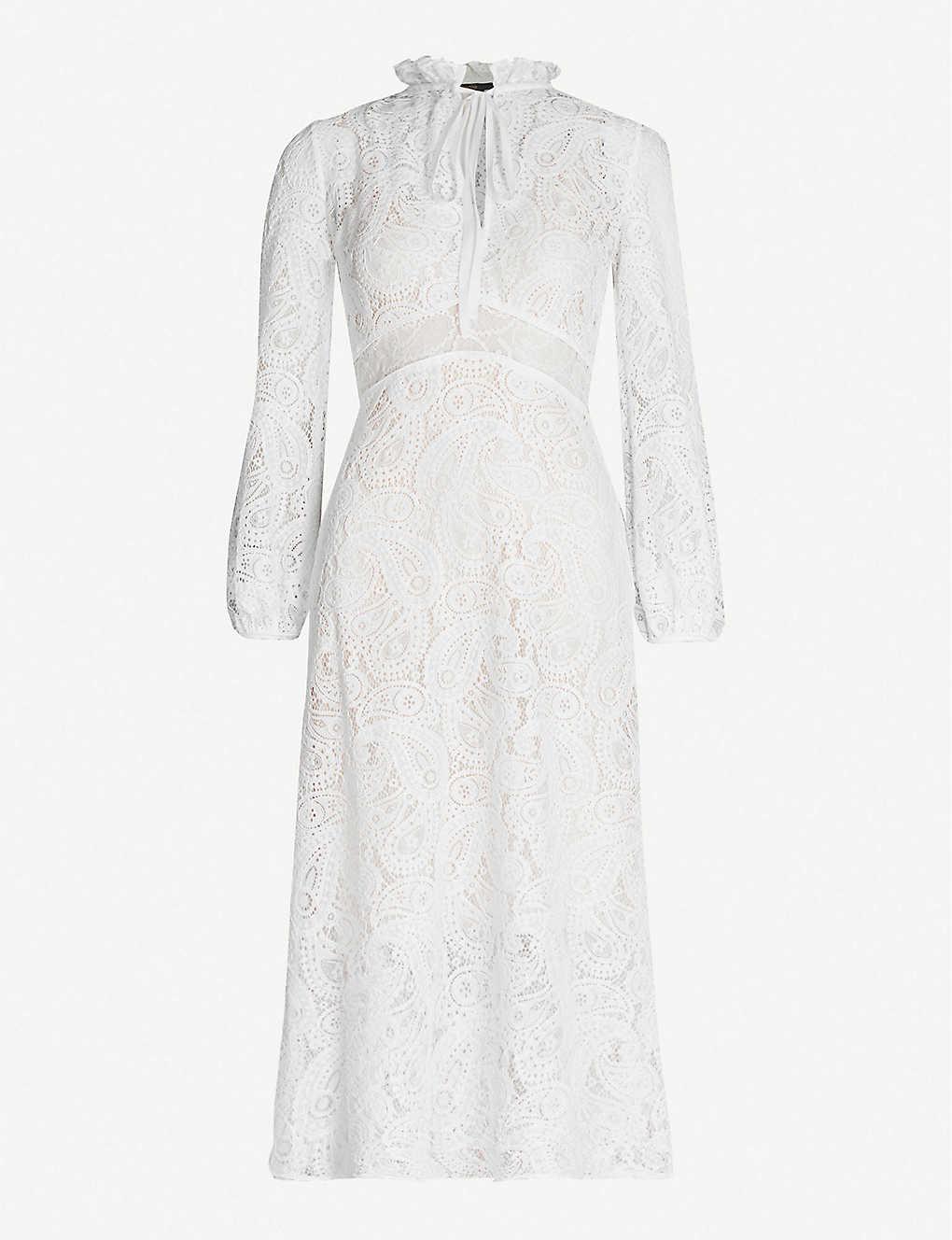 Maje Paisley Long Sleeve Midi Lace White Dress We Select