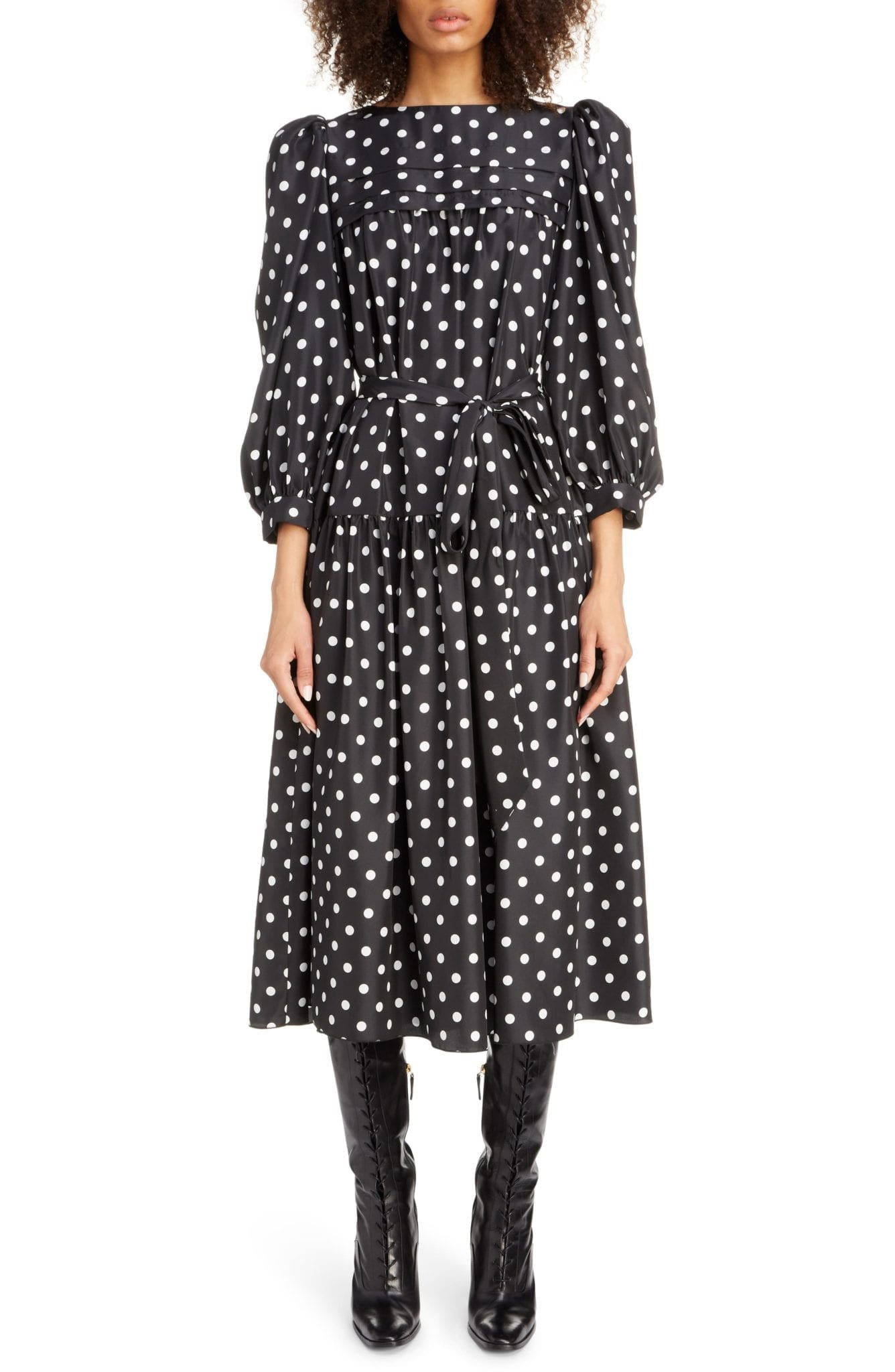 MARC JACOBS Polka Dot Print Silk Midi Dress