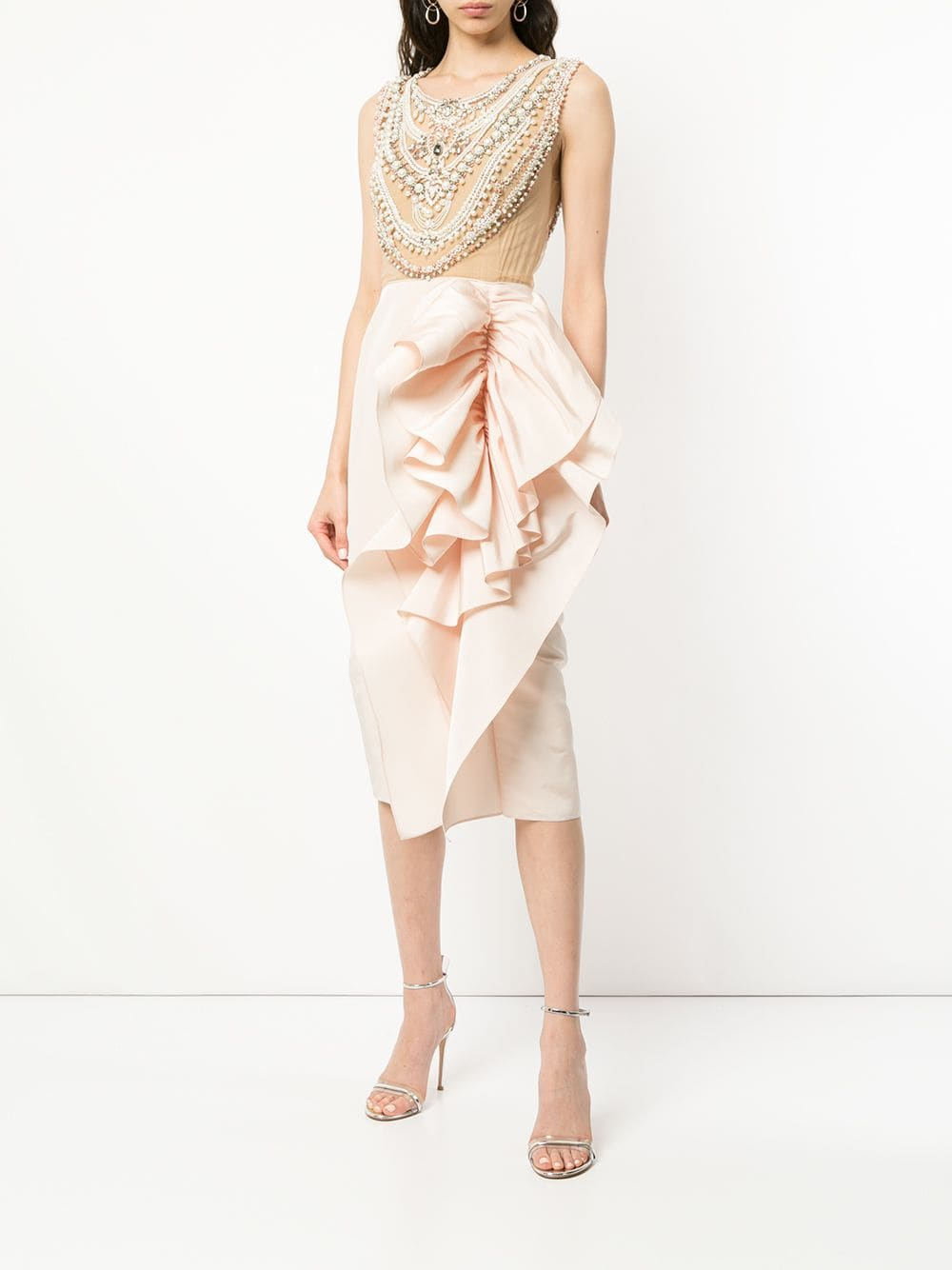 MARCHESA Embellished Bodice Cocktail Dress
