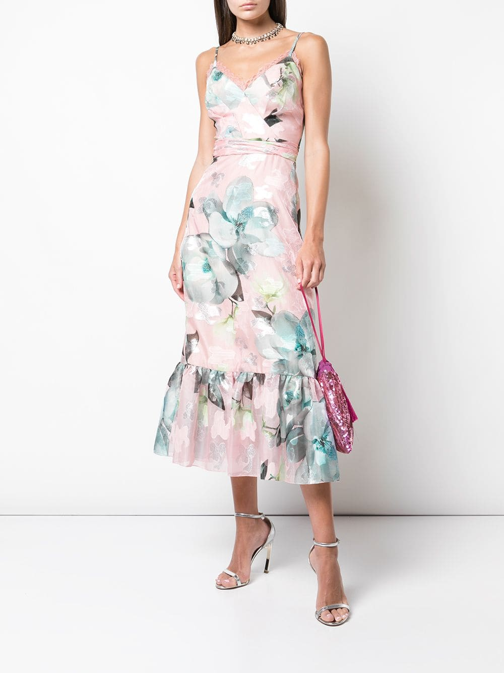 MARCHESA NOTTE Floral Fils Coupe Cocktail Dress