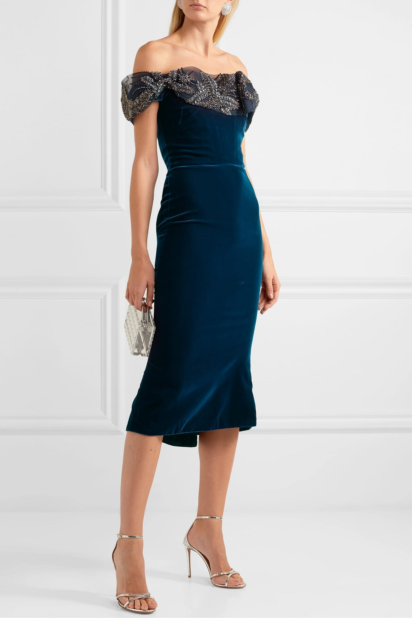 MARCHESA Off-the-shoulder Embellished Tulle And Velvet Midi Dress