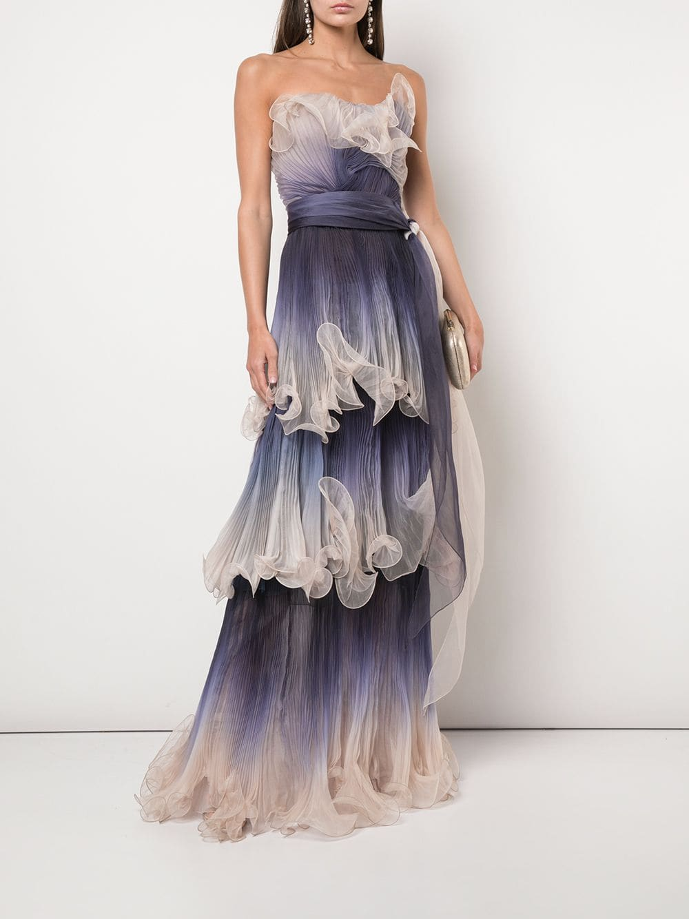 MARCHESA Structured Ombre Ruffle Gown