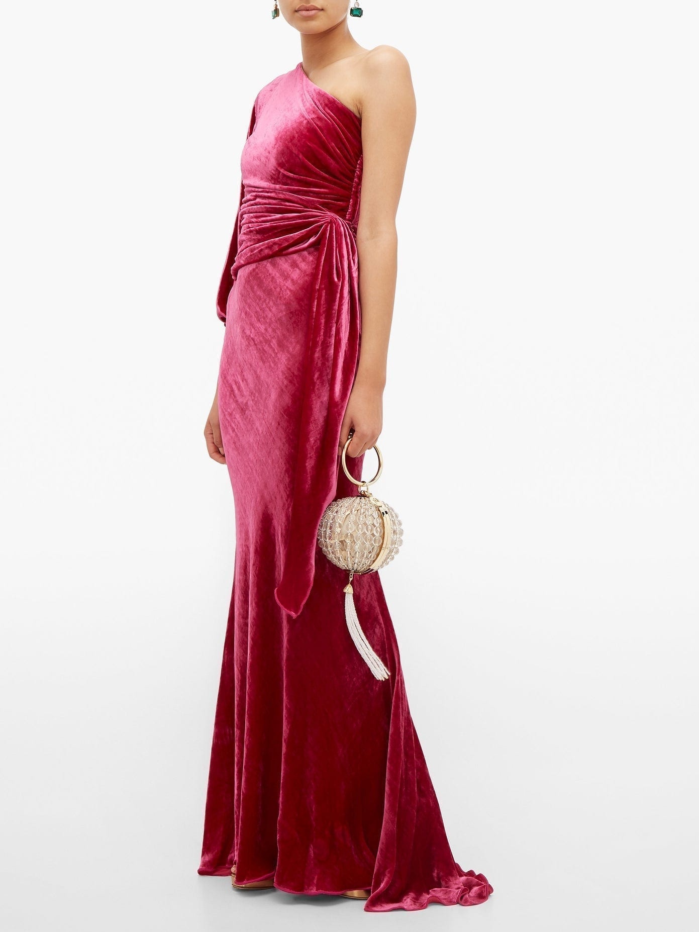 MARIA LUCIA HOHAN Amaris One-shoulder Velvet Dress