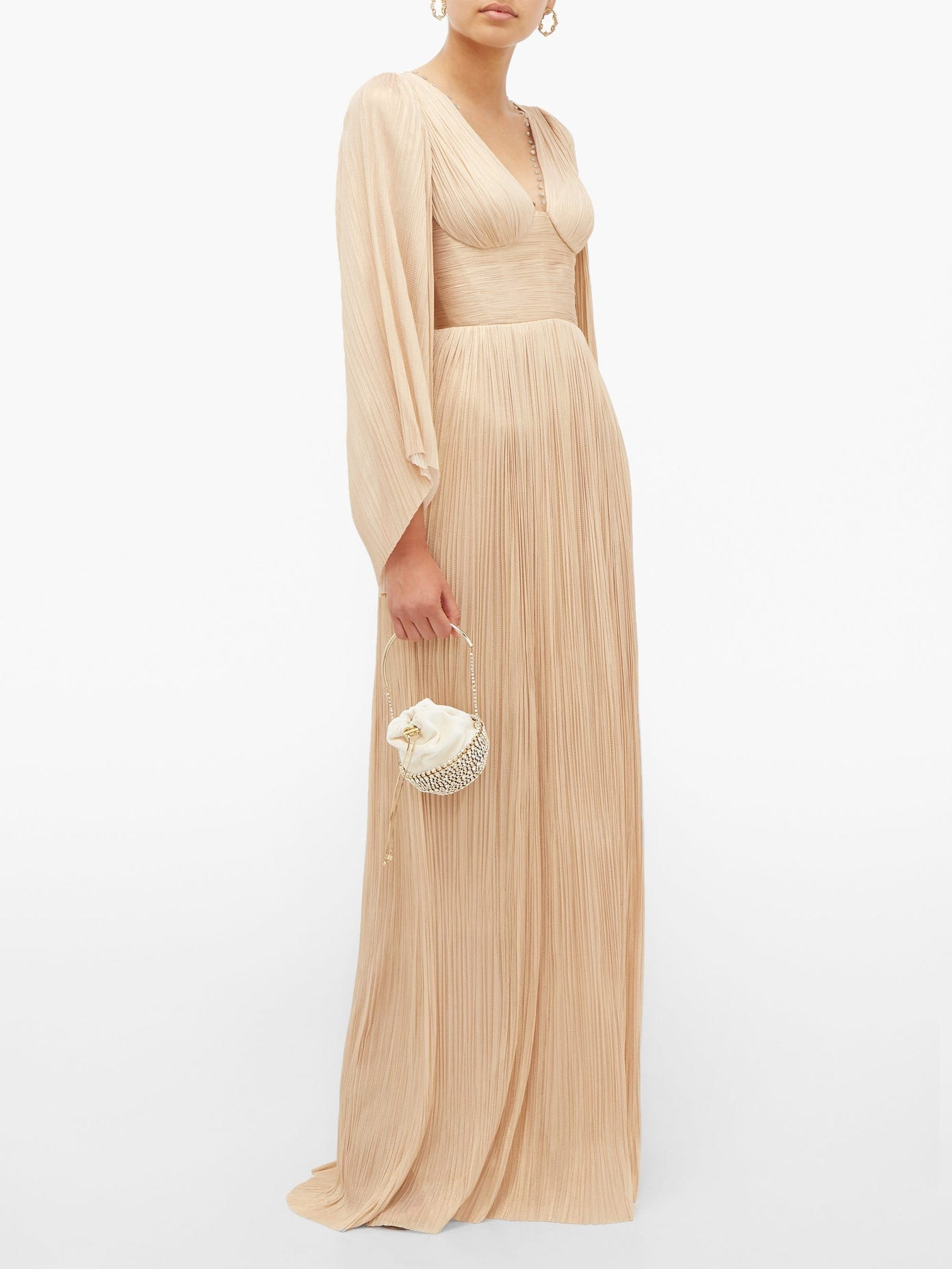 MARIA LUCIA HOHAN Catalina Plissé Silk-tulle Maxi Dress