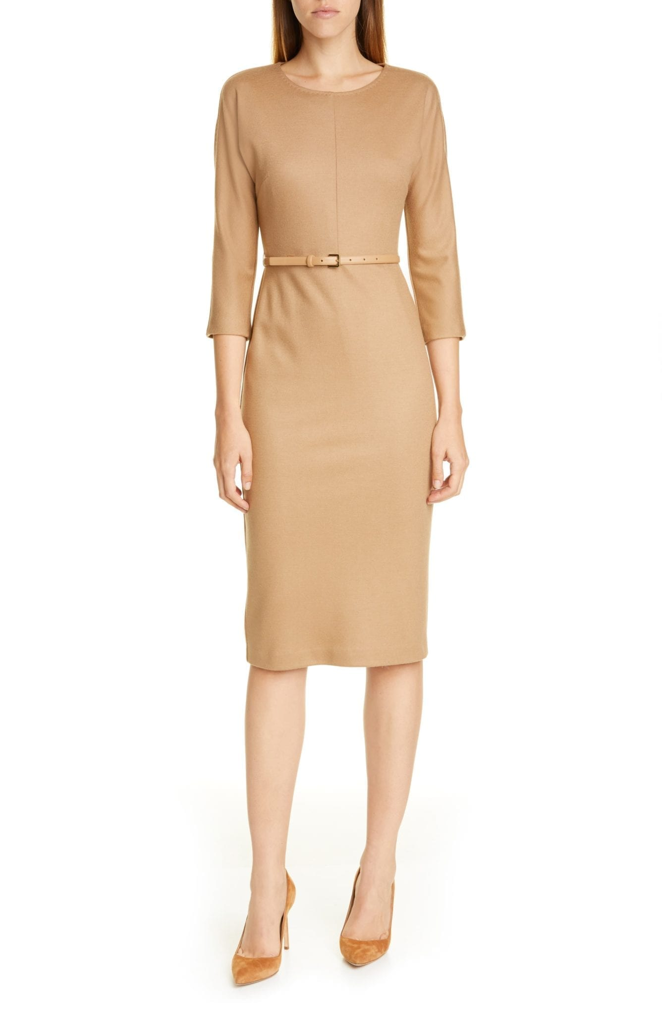 MAX MARA Rovigo Belted Wool Jersey Dress