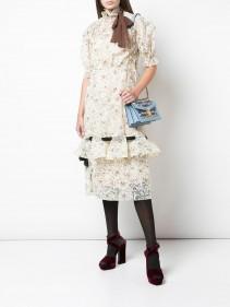 MIU MIU Floral Lace Neck Tie Dress