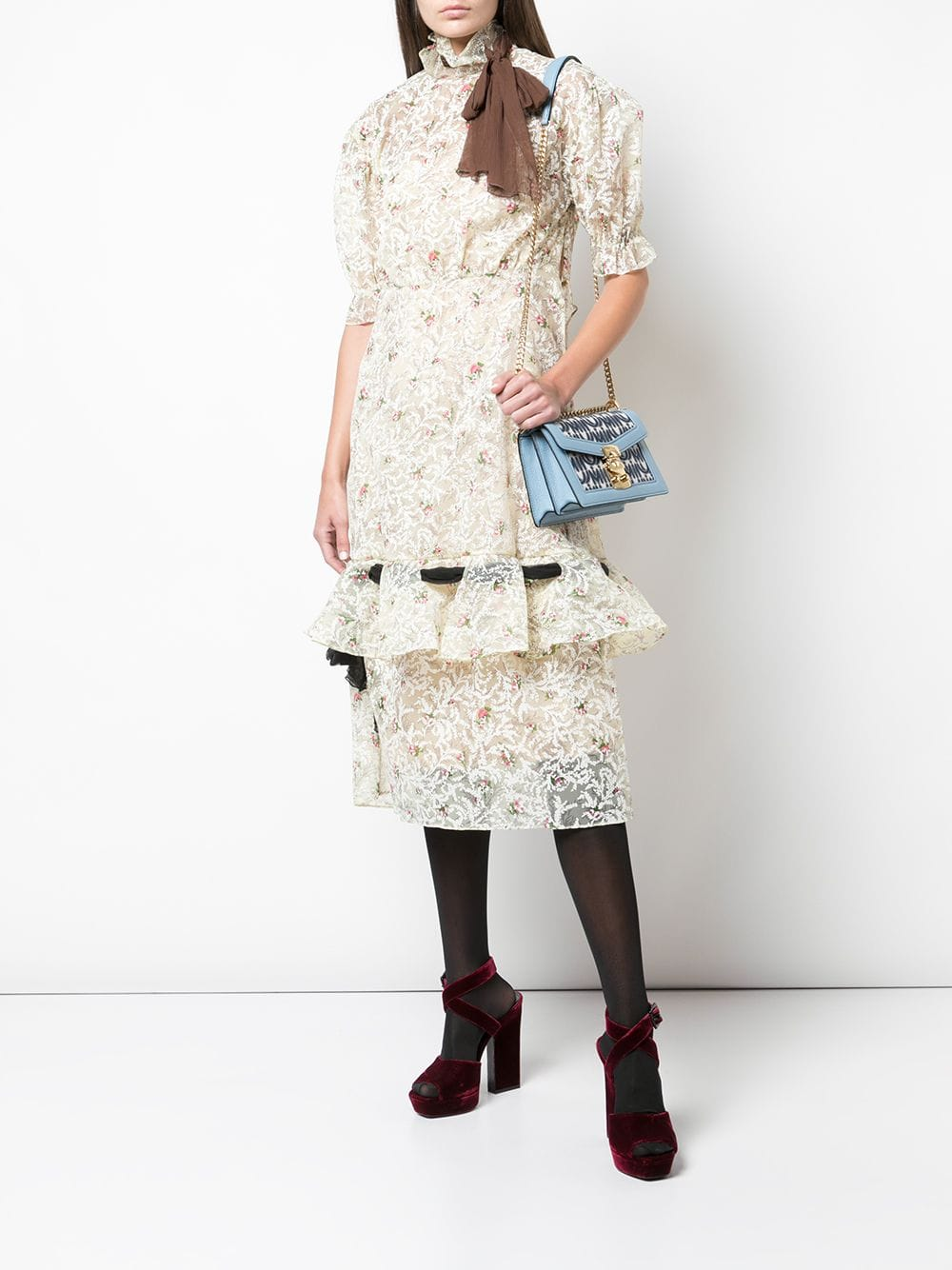 MIU MIU Floral Lace Neck Tie Dress
