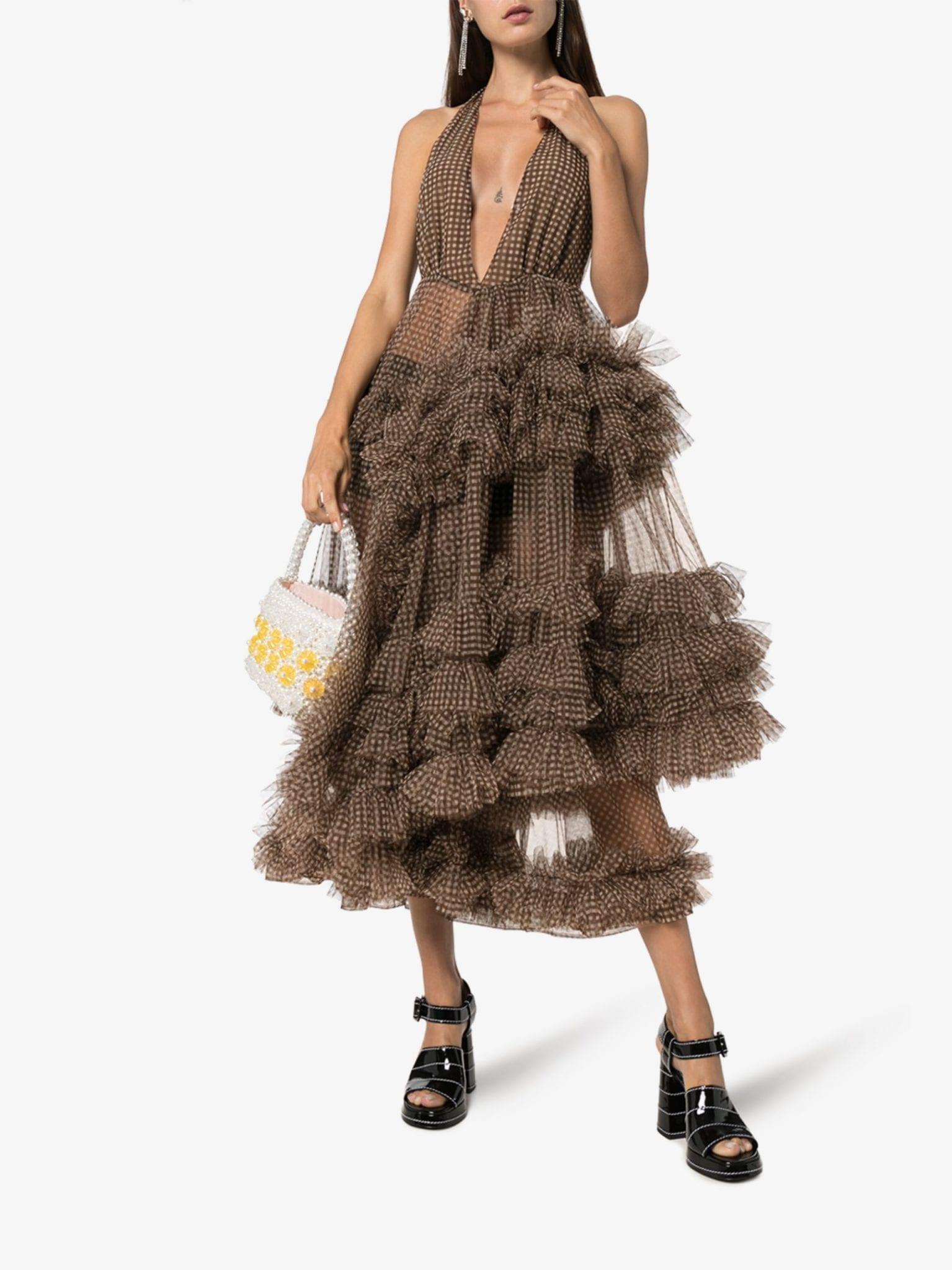 MOLLY GODDARD Gingham Tulle Ruffled Midi Dress