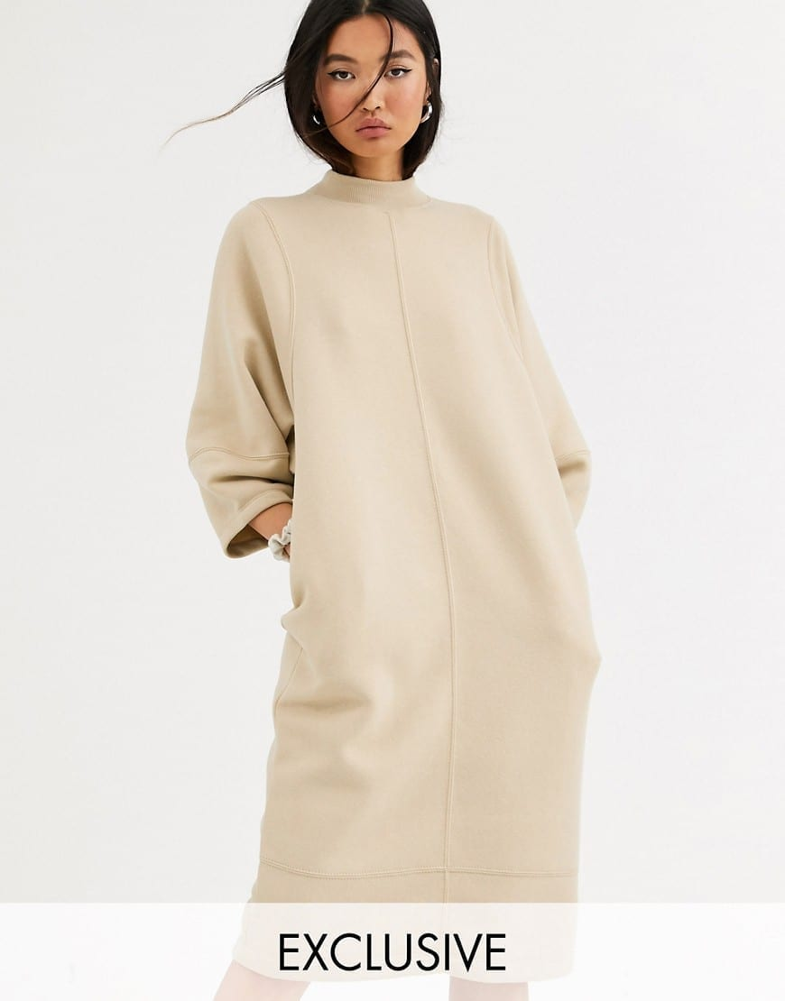 MONKI Cocoon Shape Midi T-shirt Dress
