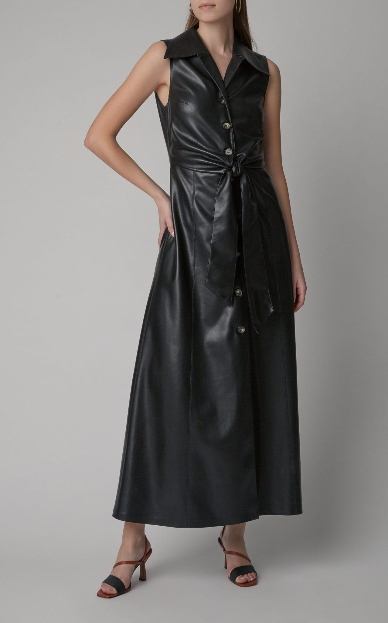 NANUSHKA Sharma Tie-Front Vegan Leather Maxi Dress