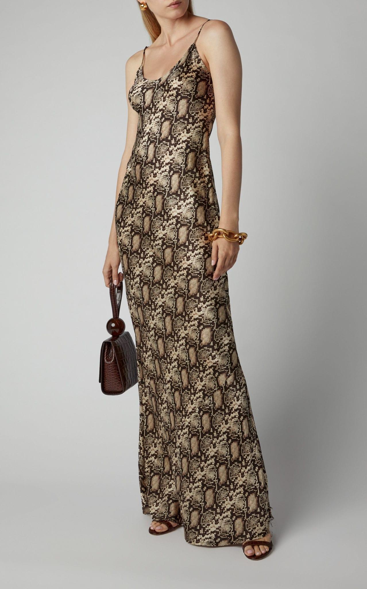 NILI LOTAN Cami Printed Silk Gown