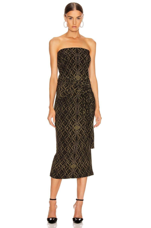 NORMA KAMALI Four Sleeve Off Shoulder Long Dress