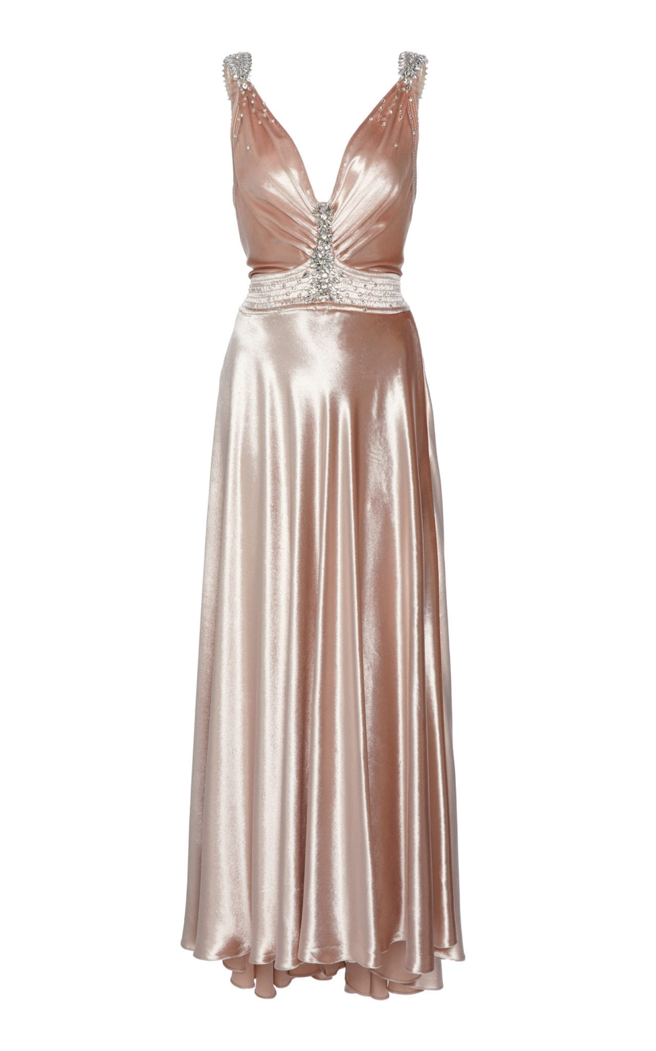 PACO RABANNE Crystal-Embellished Velvet Midi Dress