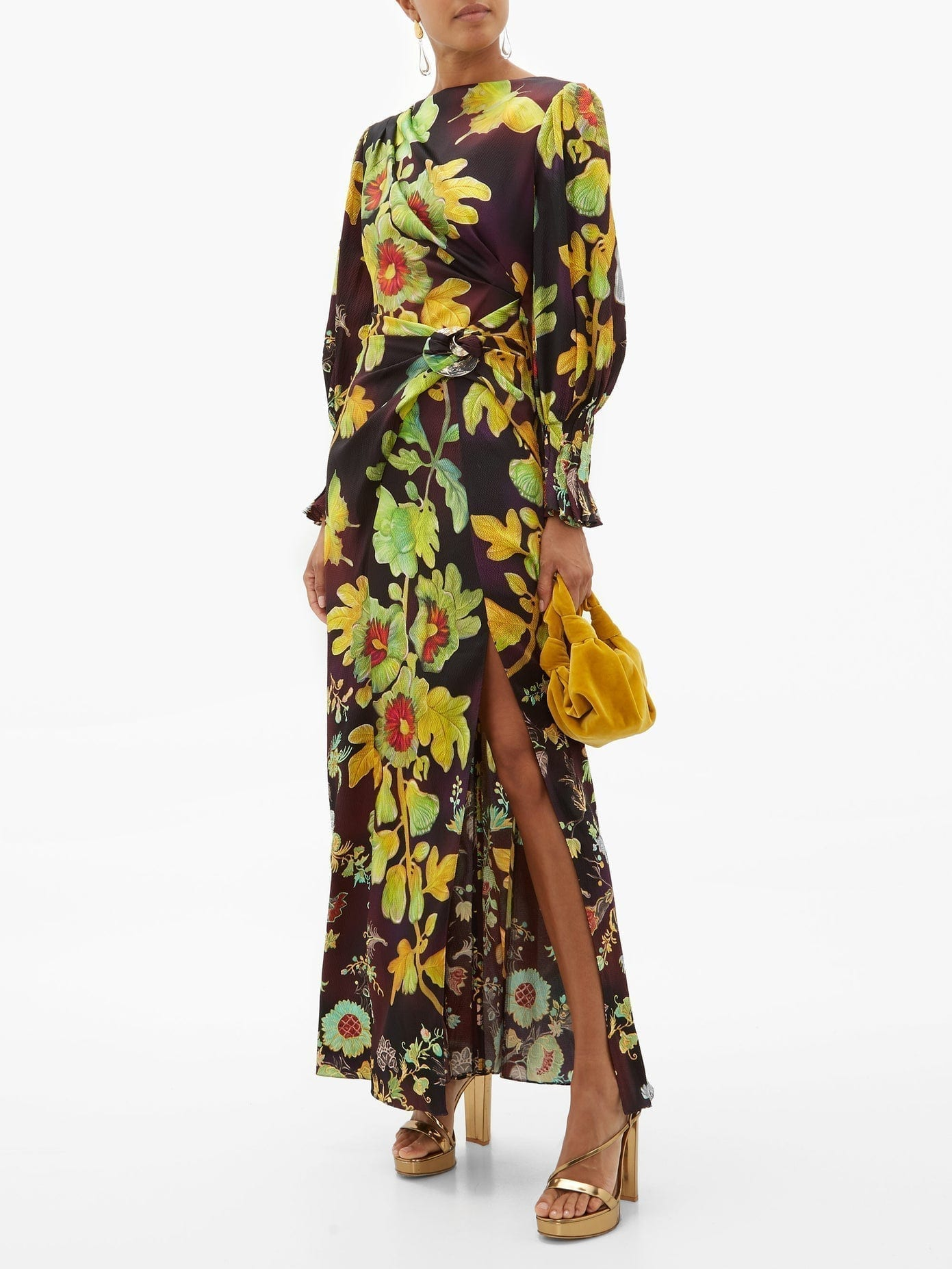 PETER PILOTTO Botanical-print Silk-blend Cloqué Maxi Dress