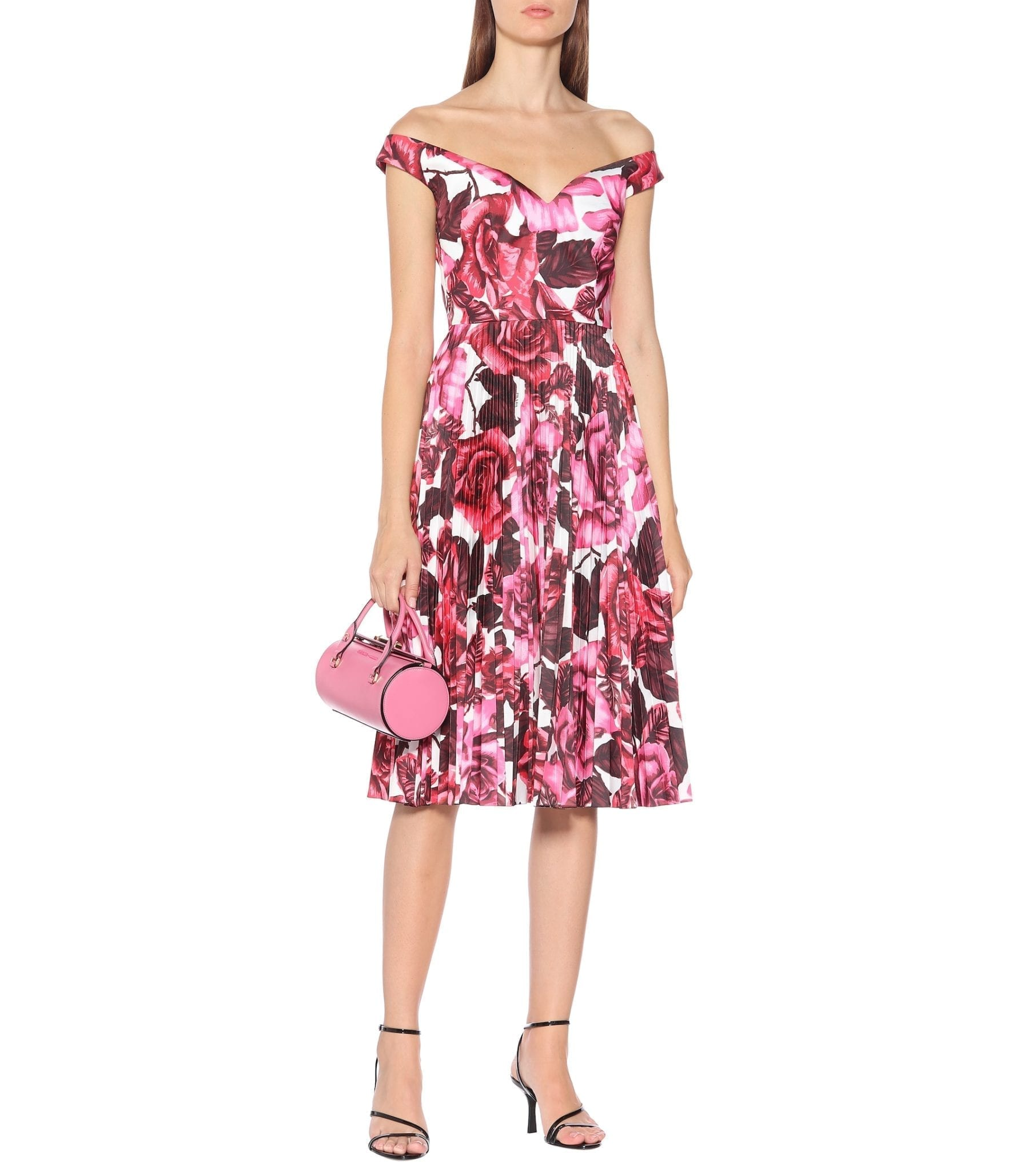 PRADA Floral Cotton Midi Dress
