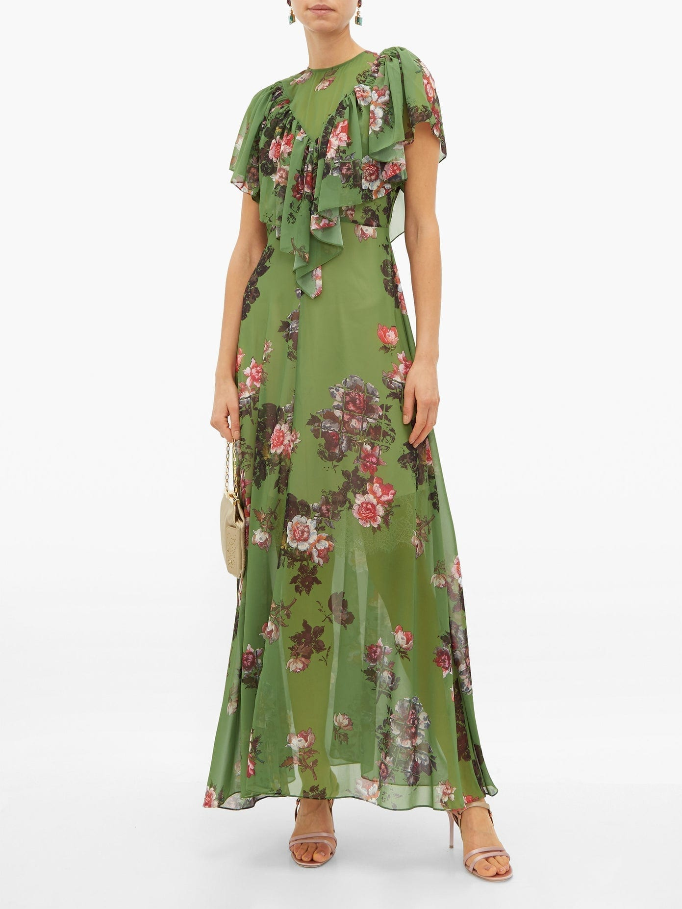 PREEN BY THORNTON BREGAZZI Irisa Gathered Floral-print Georgette Maxi Dress