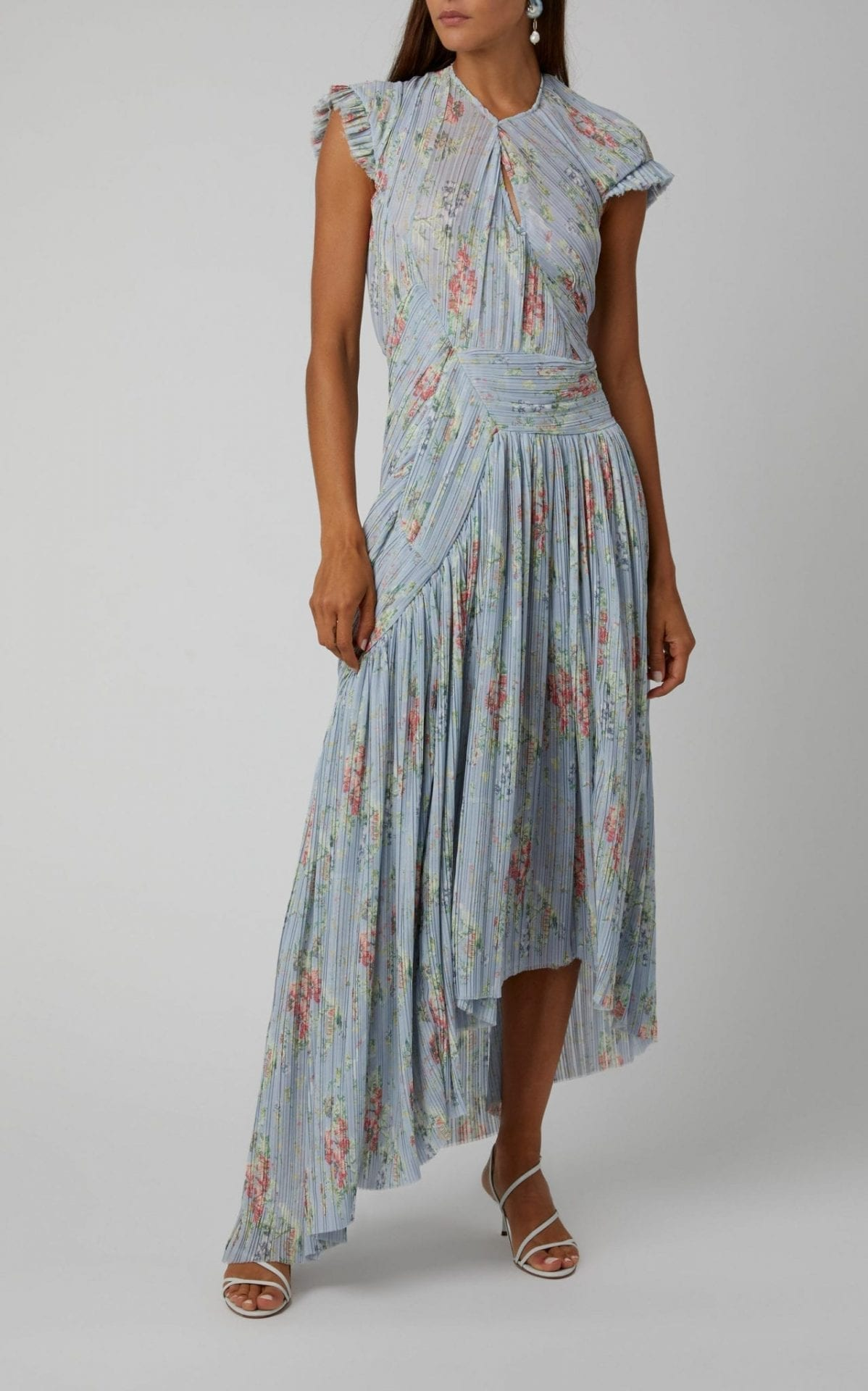 PREEN BY THORNTON BREGAZZI Julia Floral-Print Plissé Midi-Dress