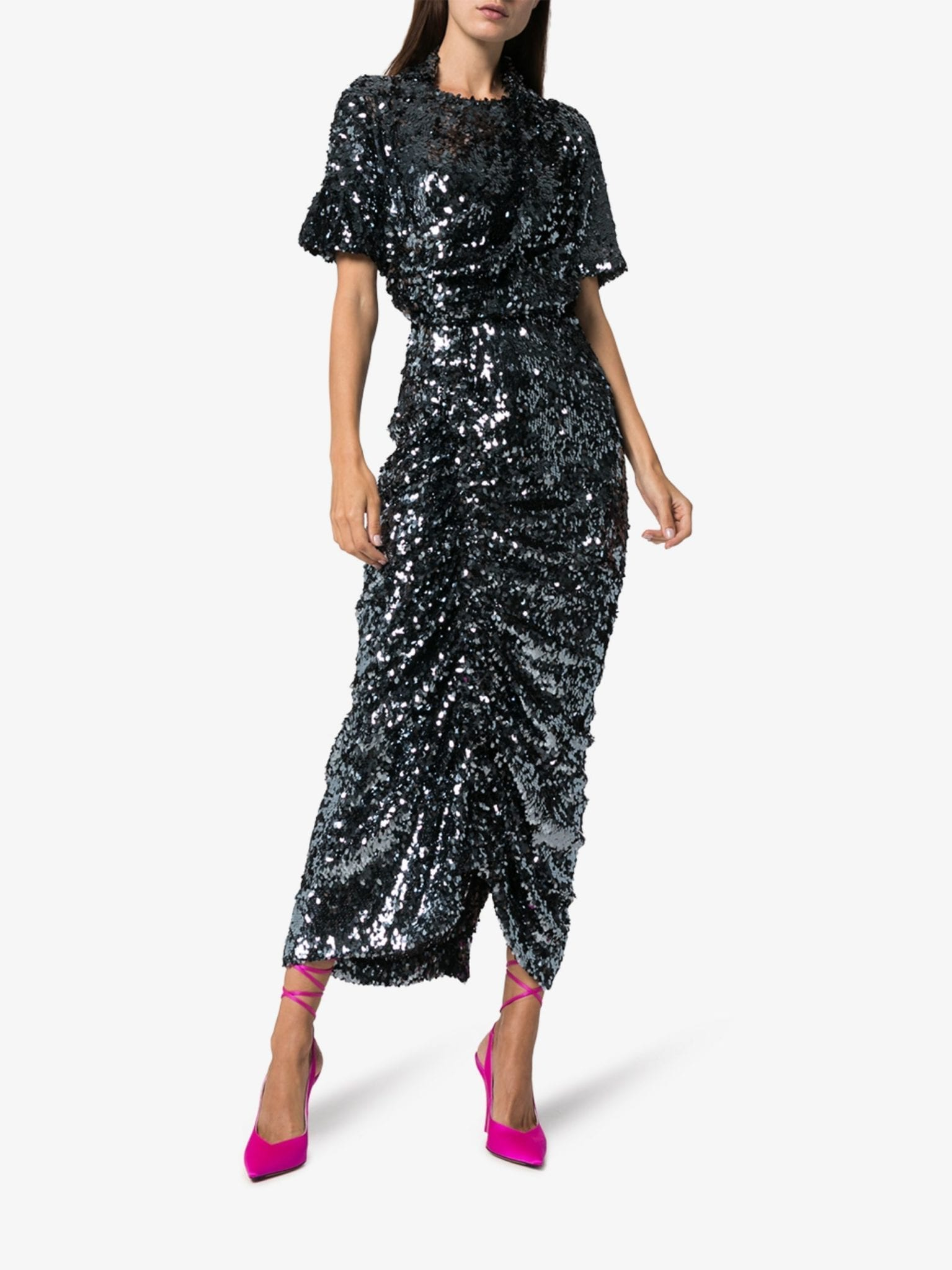 PREEN BY THORNTON BREGAZZI Sophia Sequin Ruched Midi Dress