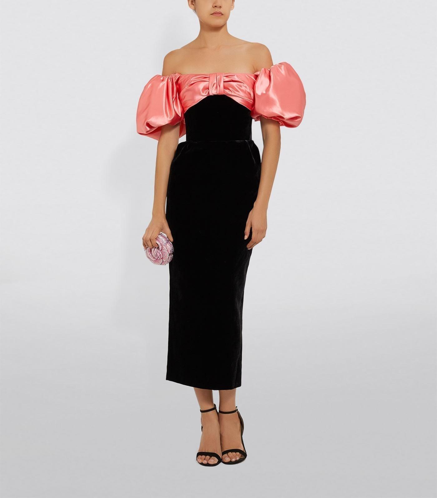 RASARIO Puff Sleeve Velvet Midi Dress