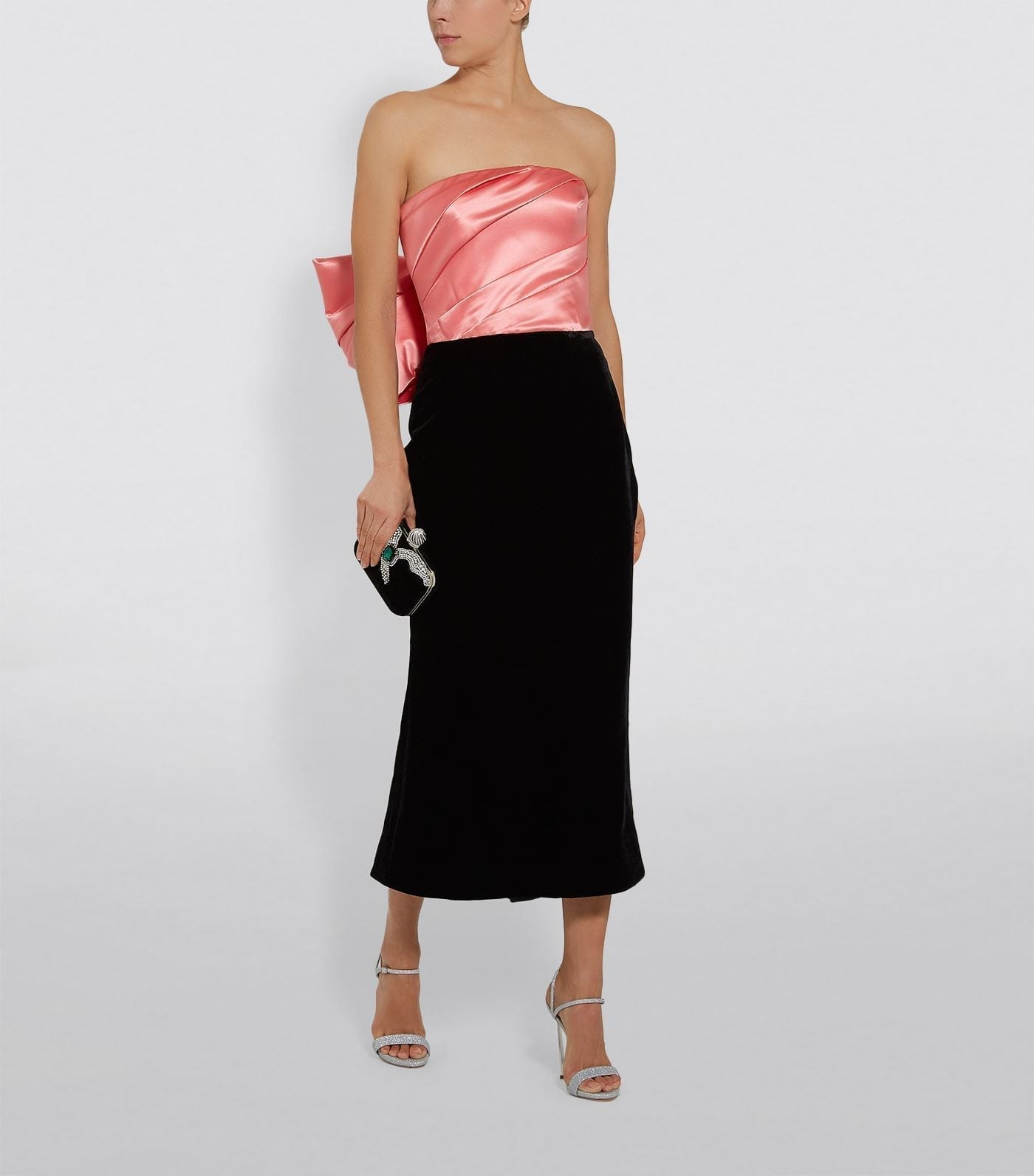 RASARIO Sleeveless Bow Back Velvet Midi Dress