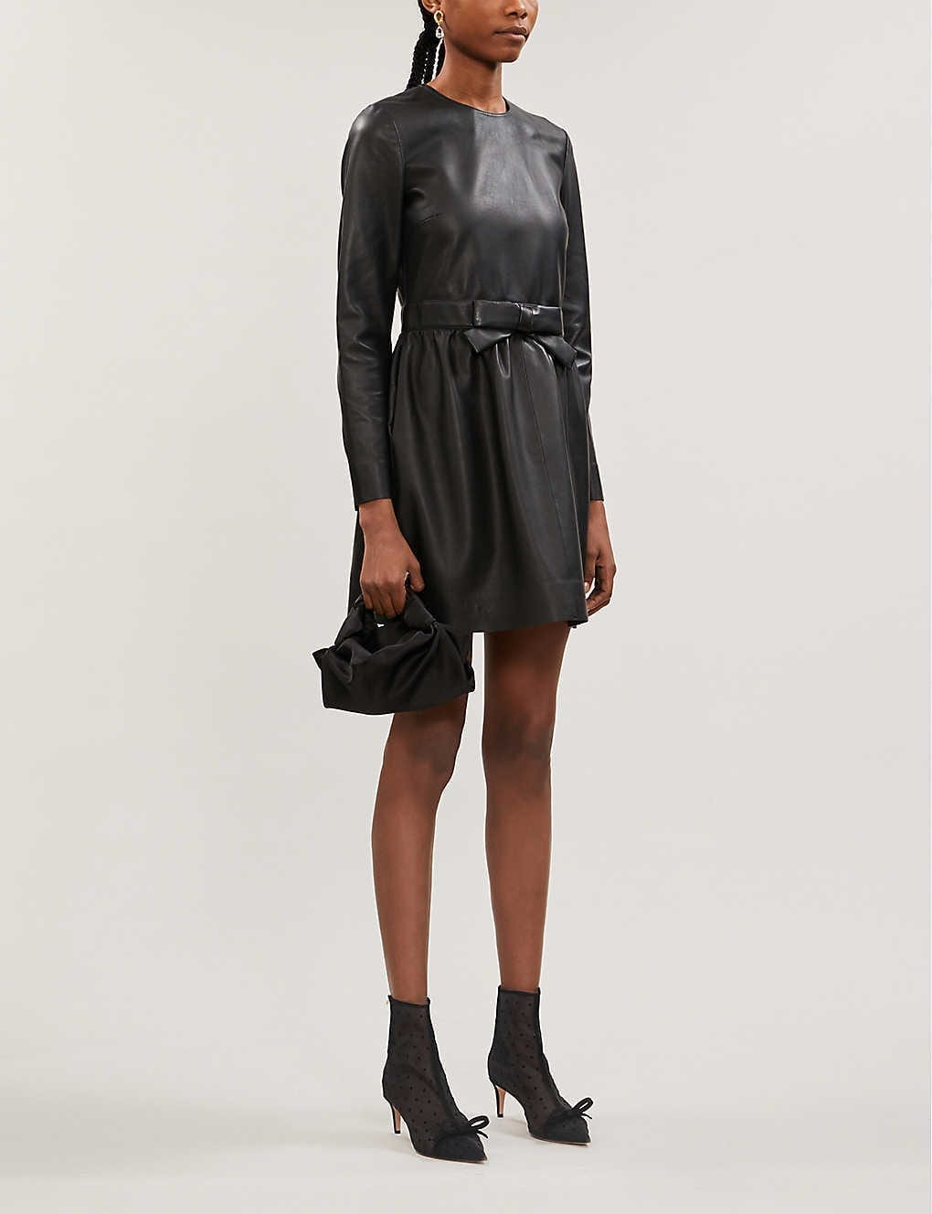 RED VALENTINO Bow-embellished Leather Mini Dress
