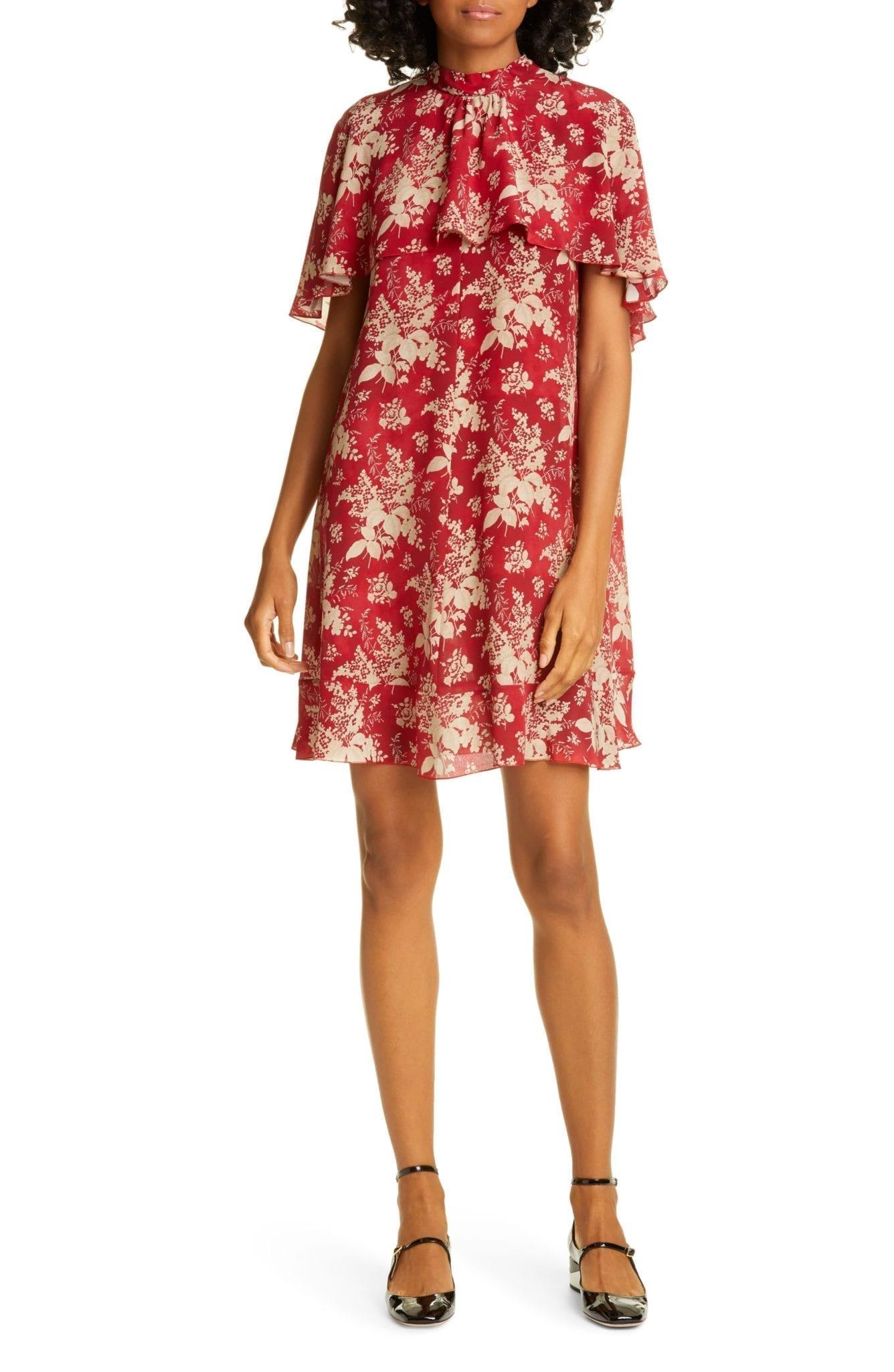 RED VALENTINO Cape Detail Floral Silk Mini Dress