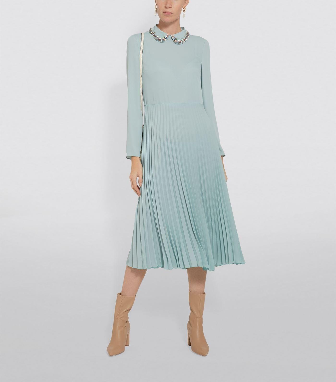 RED VALENTINO Crystal Collar Midi Dress