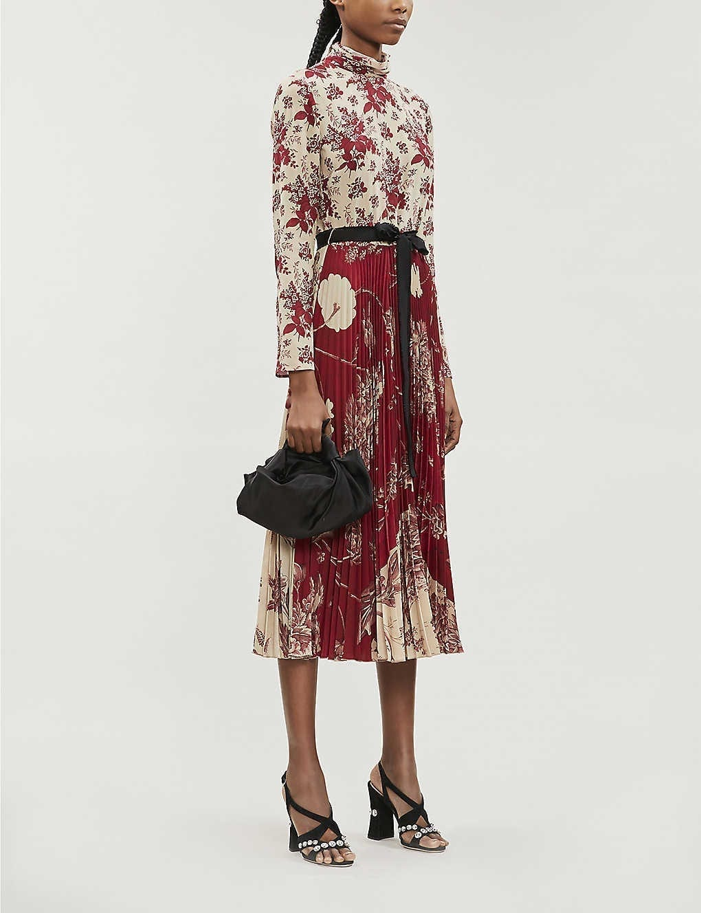RED VALENTINO Floral-print Silk-blend Midi Dress