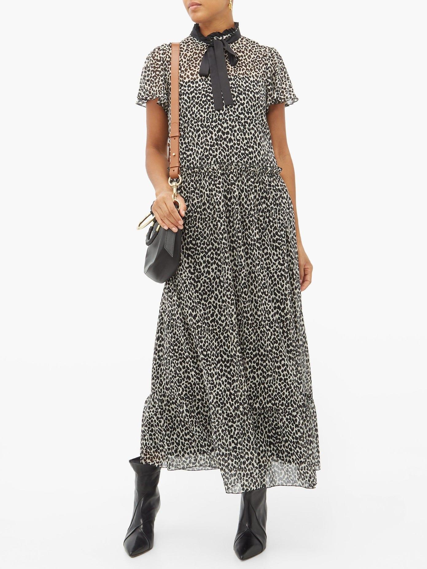 REDVALENTINO Leopard-print Pussy-bow Chiffon Maxi Dress