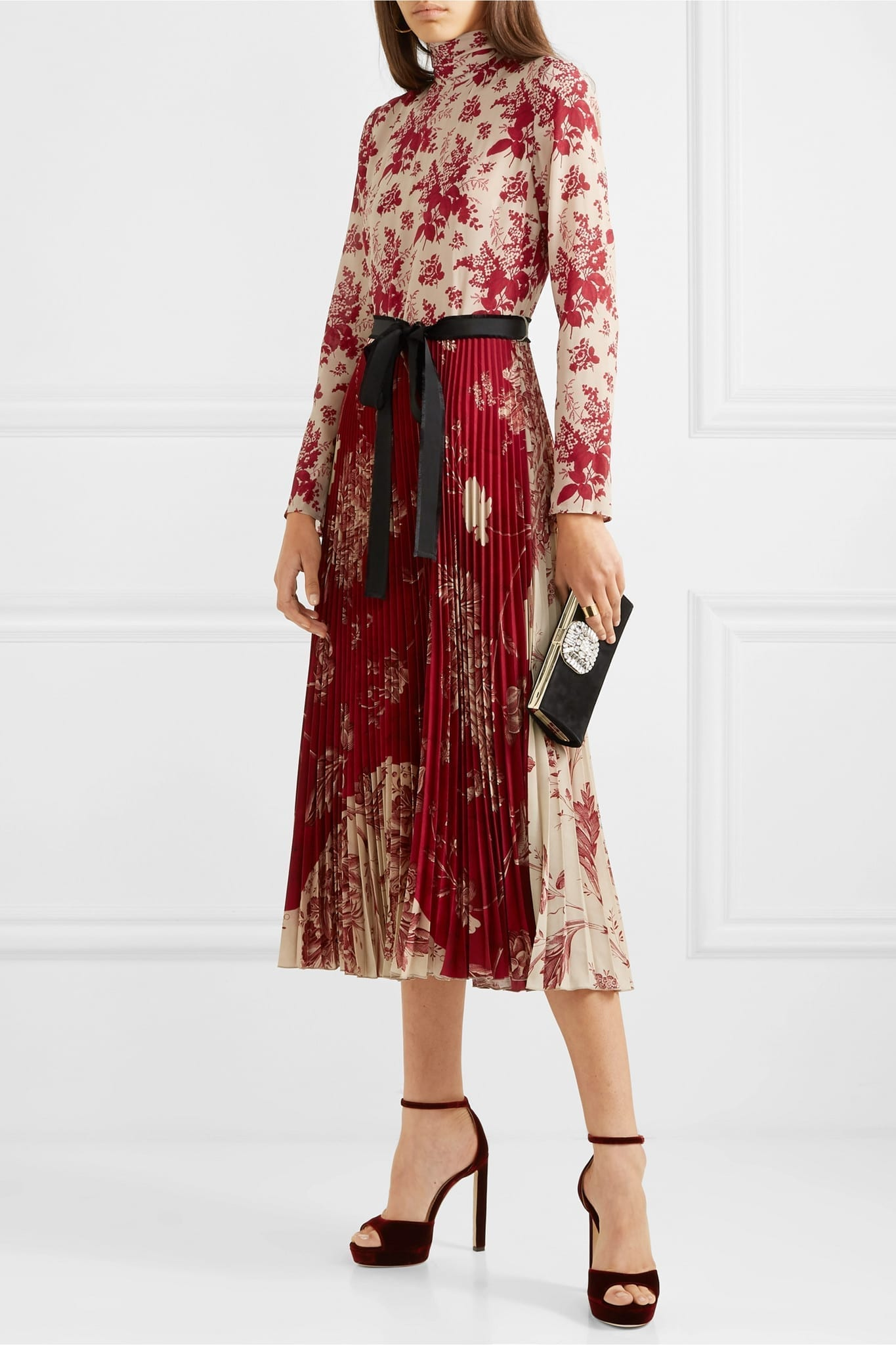 REDVALENTINO Pleated Floral-print Crepe And Silk-satin Midi Dress