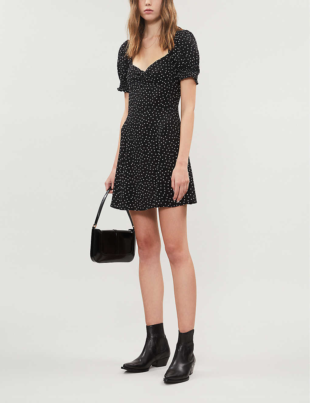 REFORMATION Drea Polka-dot Crepe Mini Dress