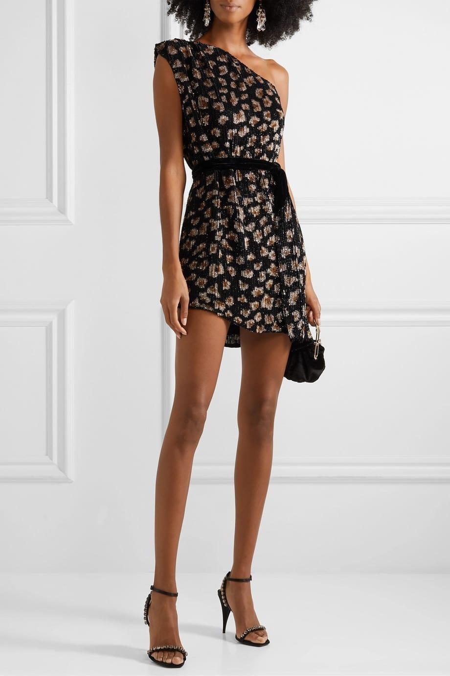 RETROFÊTE Ella One-shoulder Velvet-trimmed Sequined Chiffon Mini Dress
