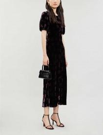 RIXO Daisy Floral-print Velvet Maxi Dress