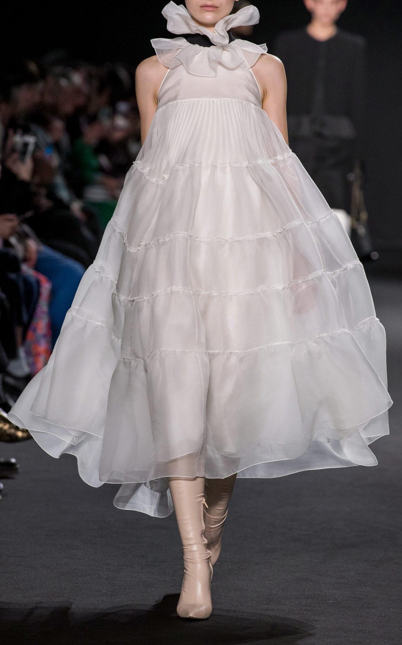 ROCHAS Tiered Silk-Organza Halter Gown
