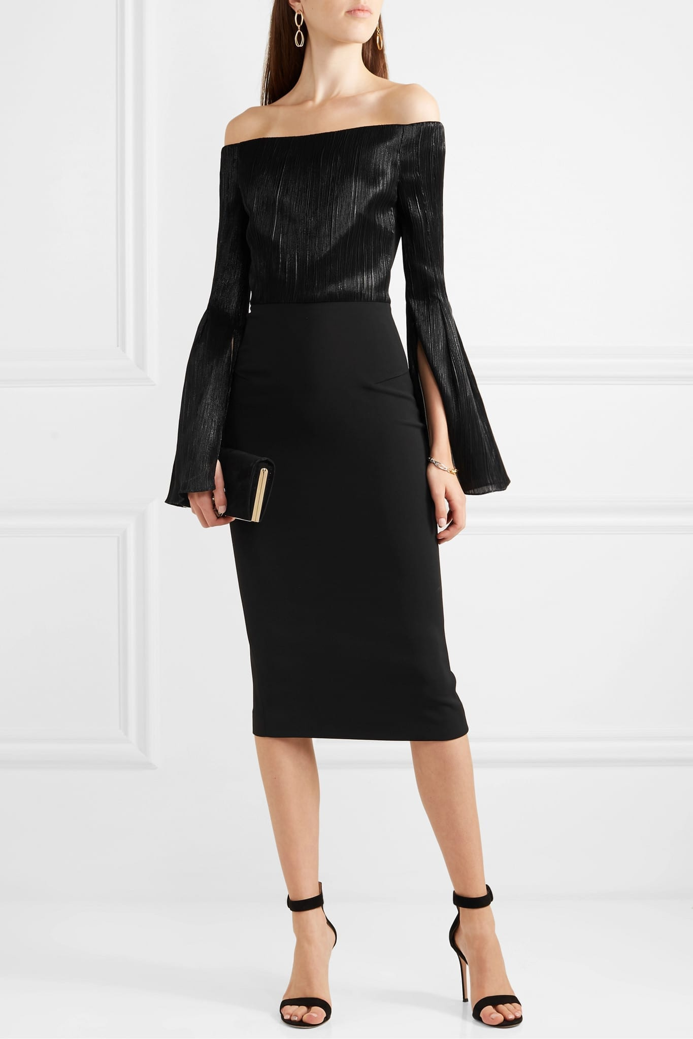 ROLAND MOURET Anina Off-the-shoulder Stretch-crepe And Silk-blend Lamé Dress