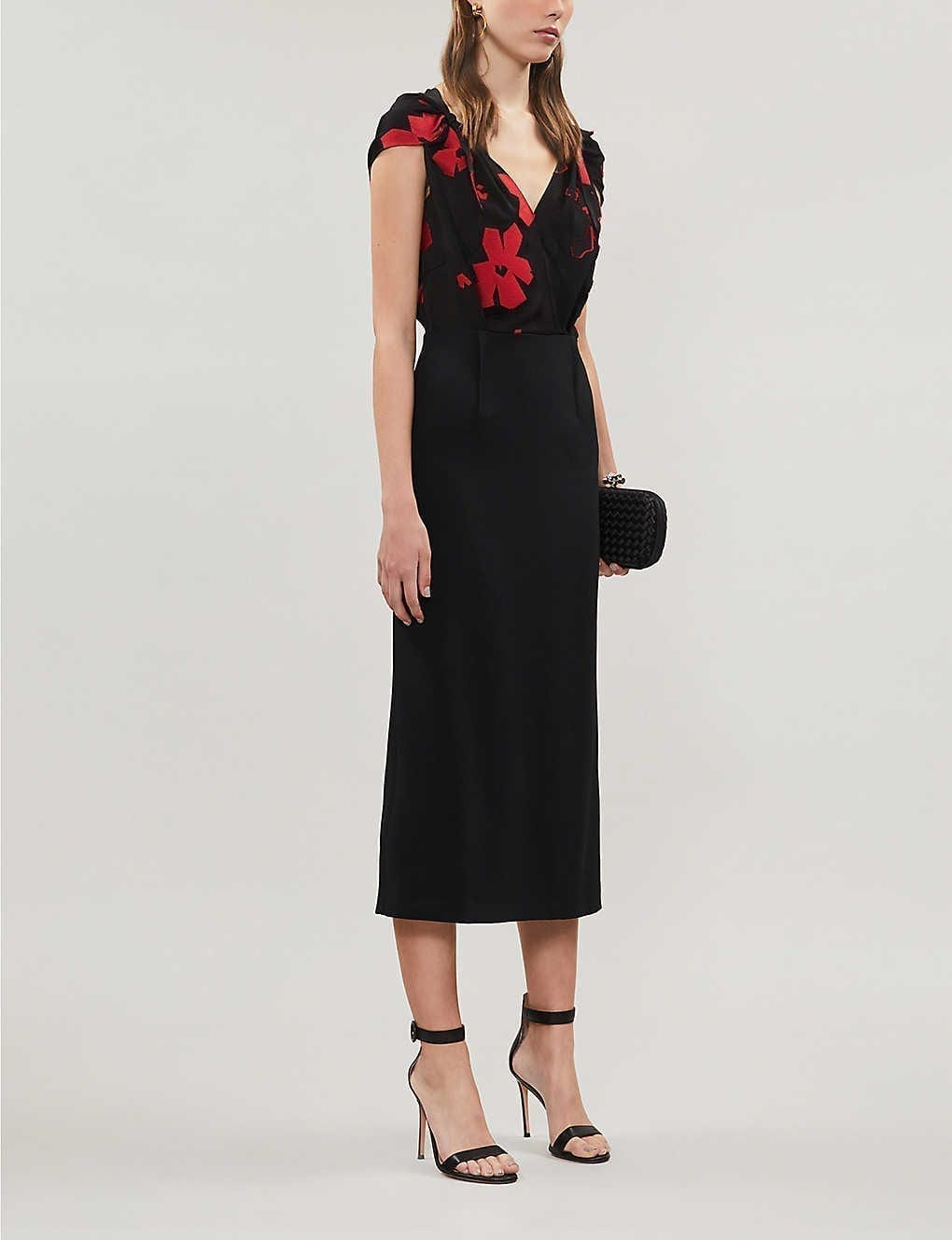 ROLAND MOURET Eclipse Floral-embroidery Crepe Midi Dress