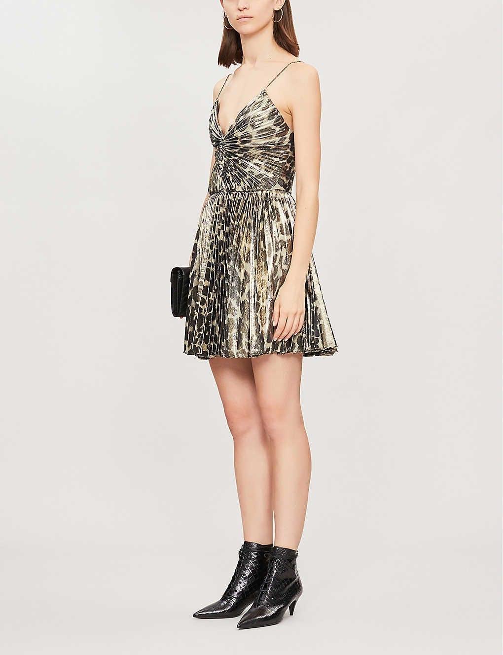 SAINT LAURENT Leopard-print Silk-blend Mini Dress