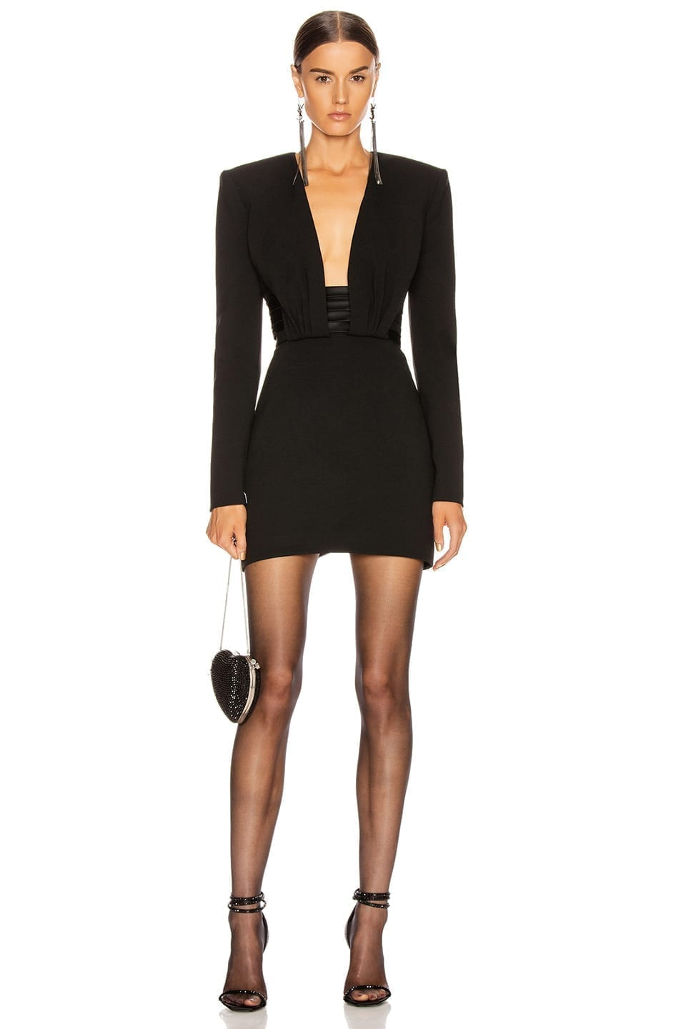 SAINT LAURENT Long Sleeve Open Back Mini Dress